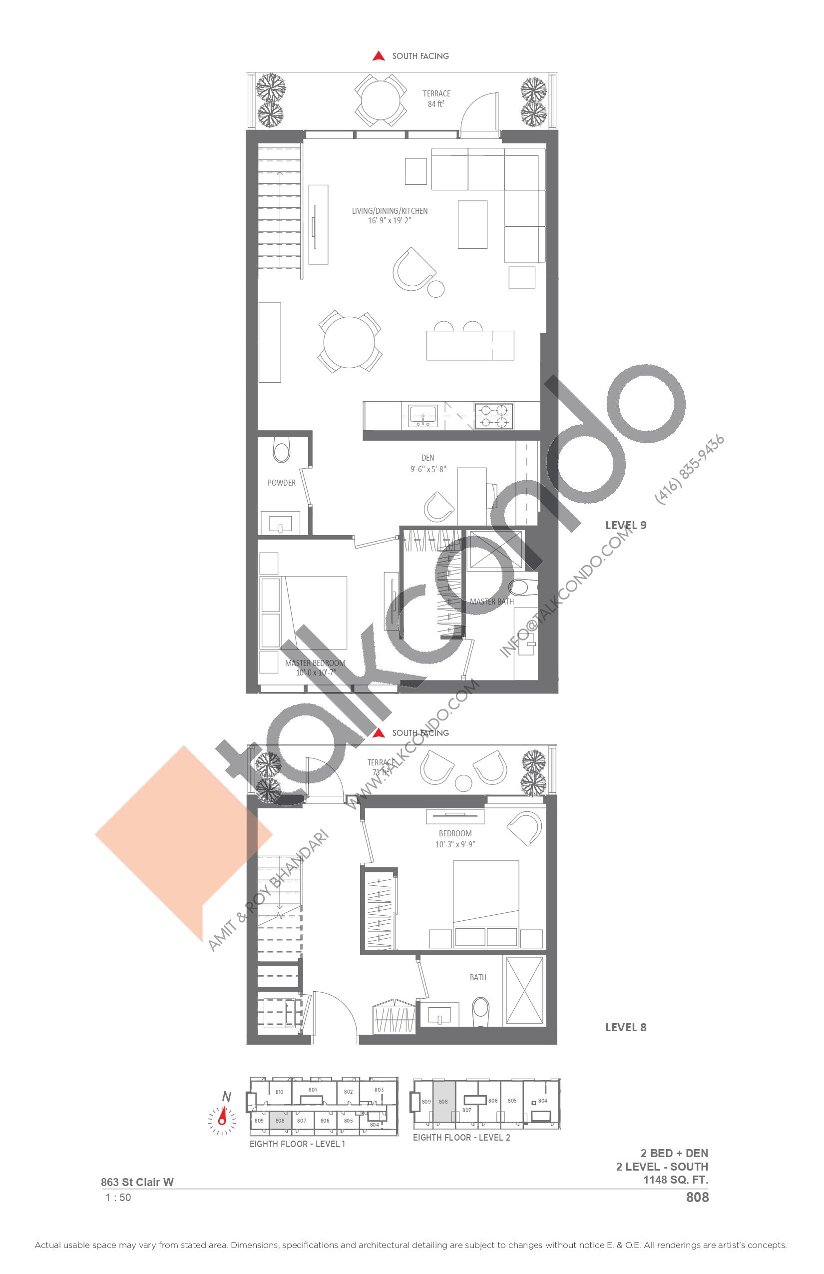 808 Floor Plan at Monza Condos - 1148 sq.ft