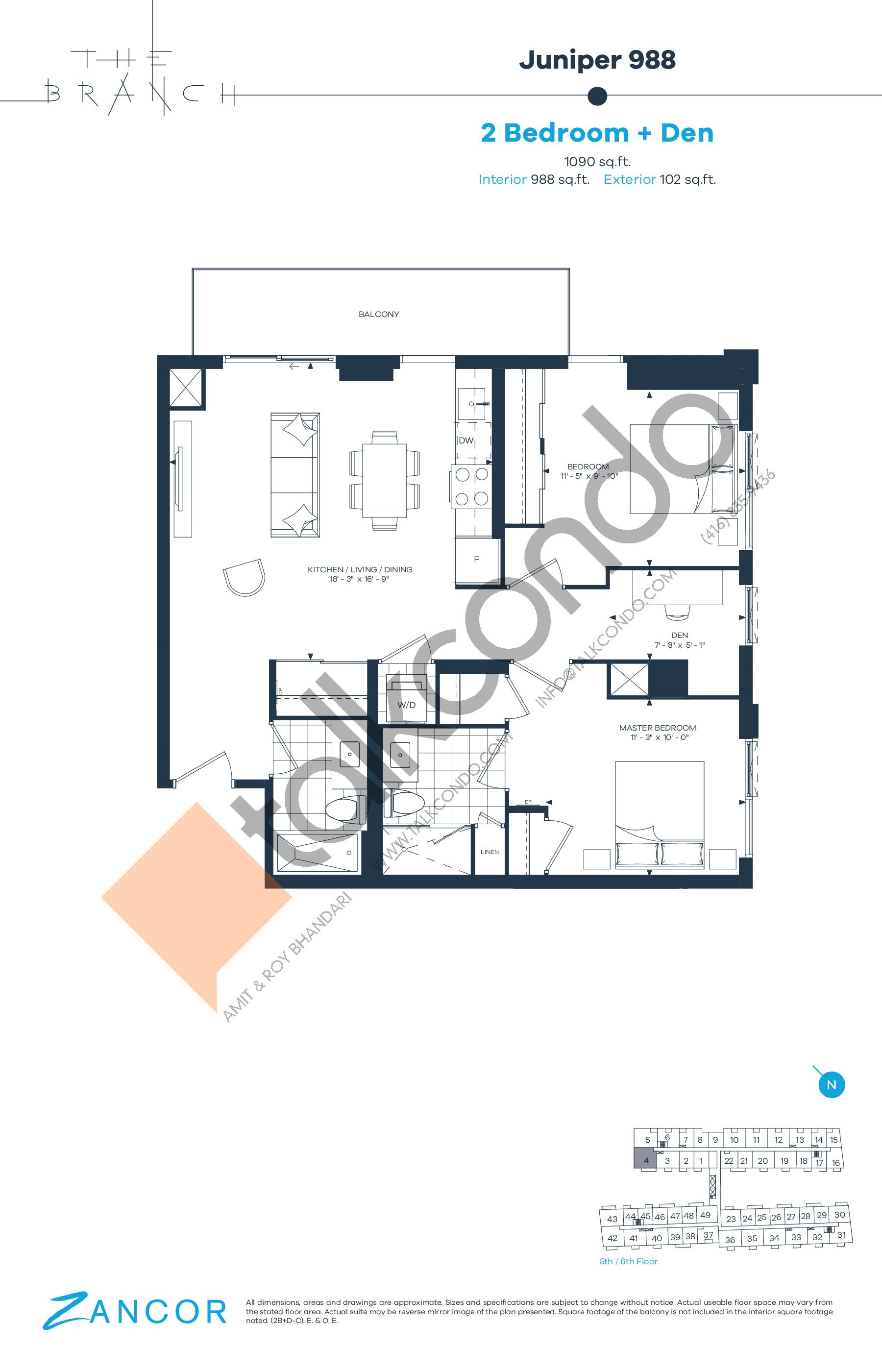 Juniper 988 Floor Plan at The Branch Condos - 988 sq.ft