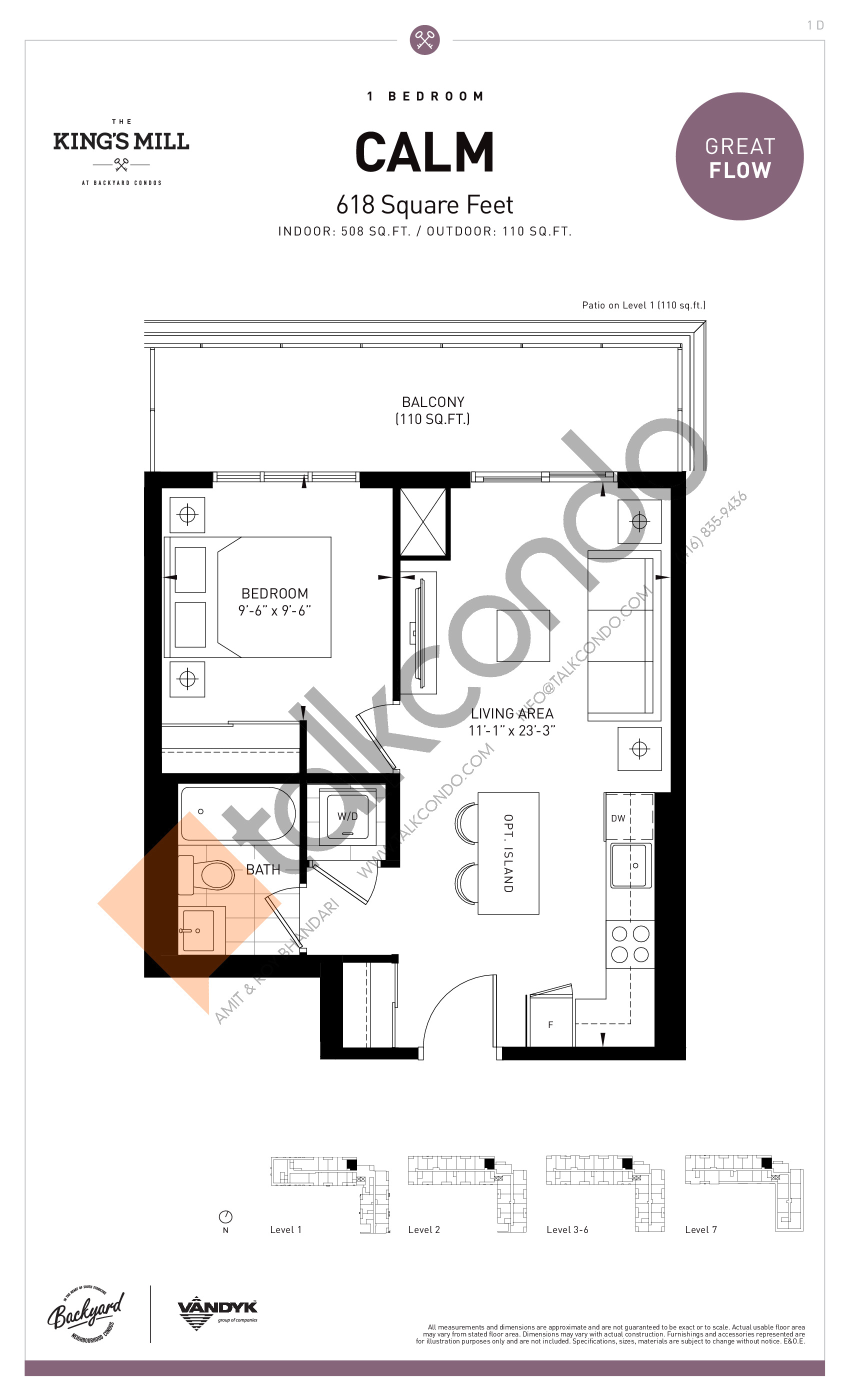Calm Floor Plan at The King's Mill Condos - 508 sq.ft