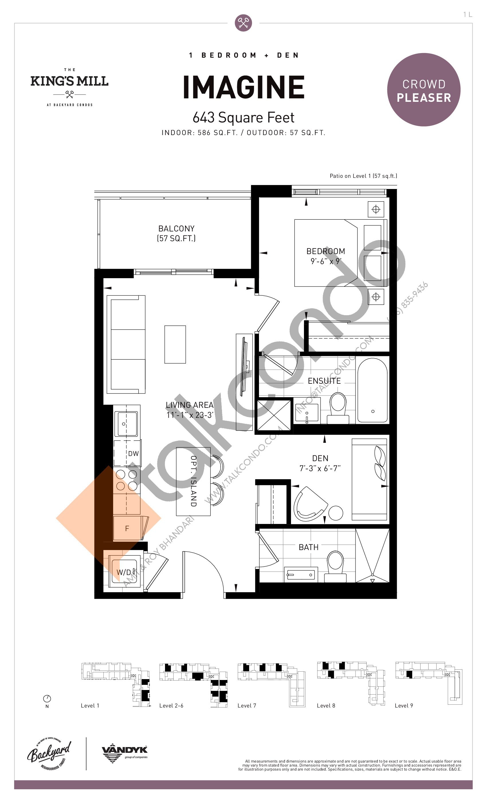 Imagine Floor Plan at The King's Mill Condos - 586 sq.ft