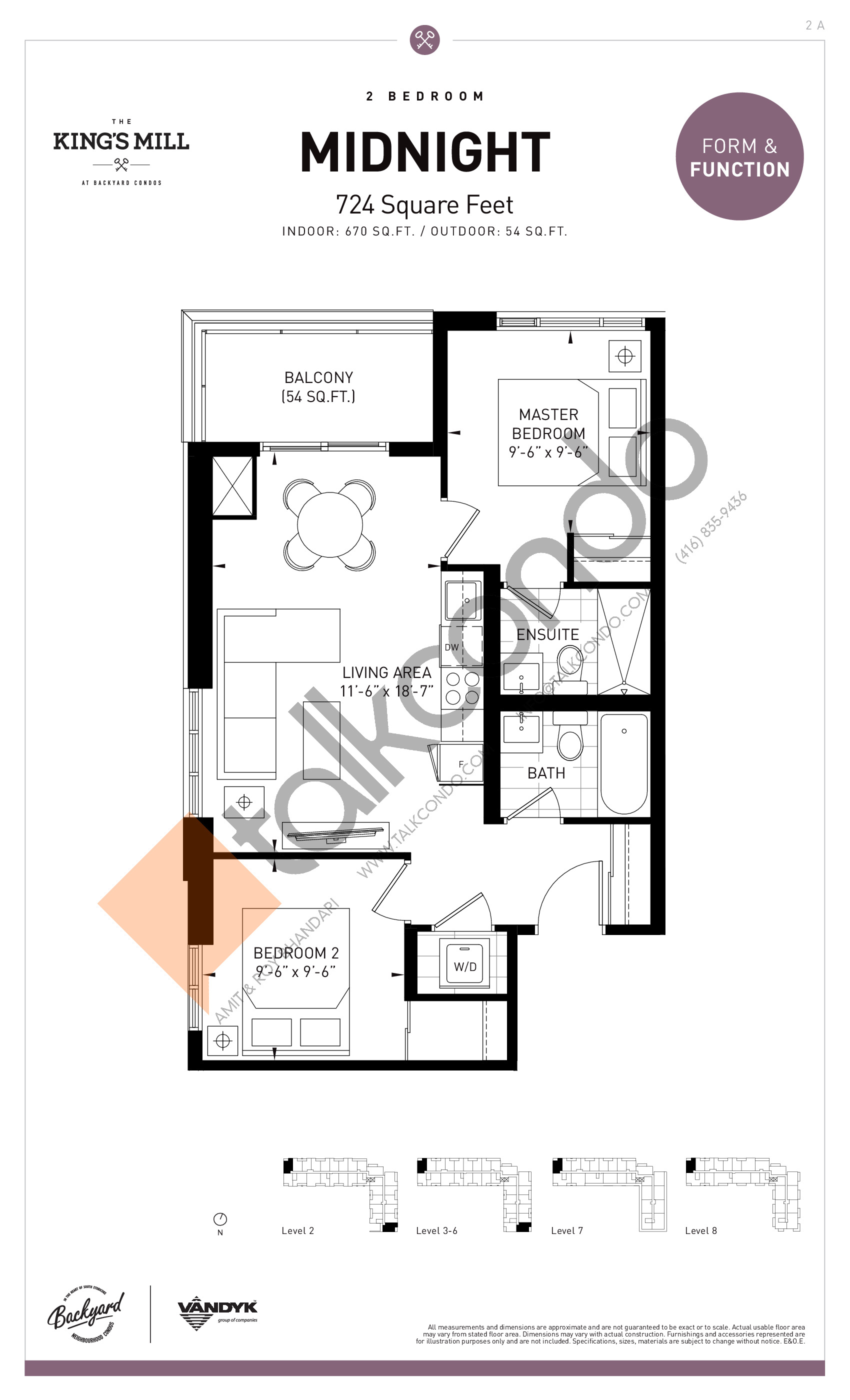 Midnight Floor Plan at The King's Mill Condos - 670 sq.ft