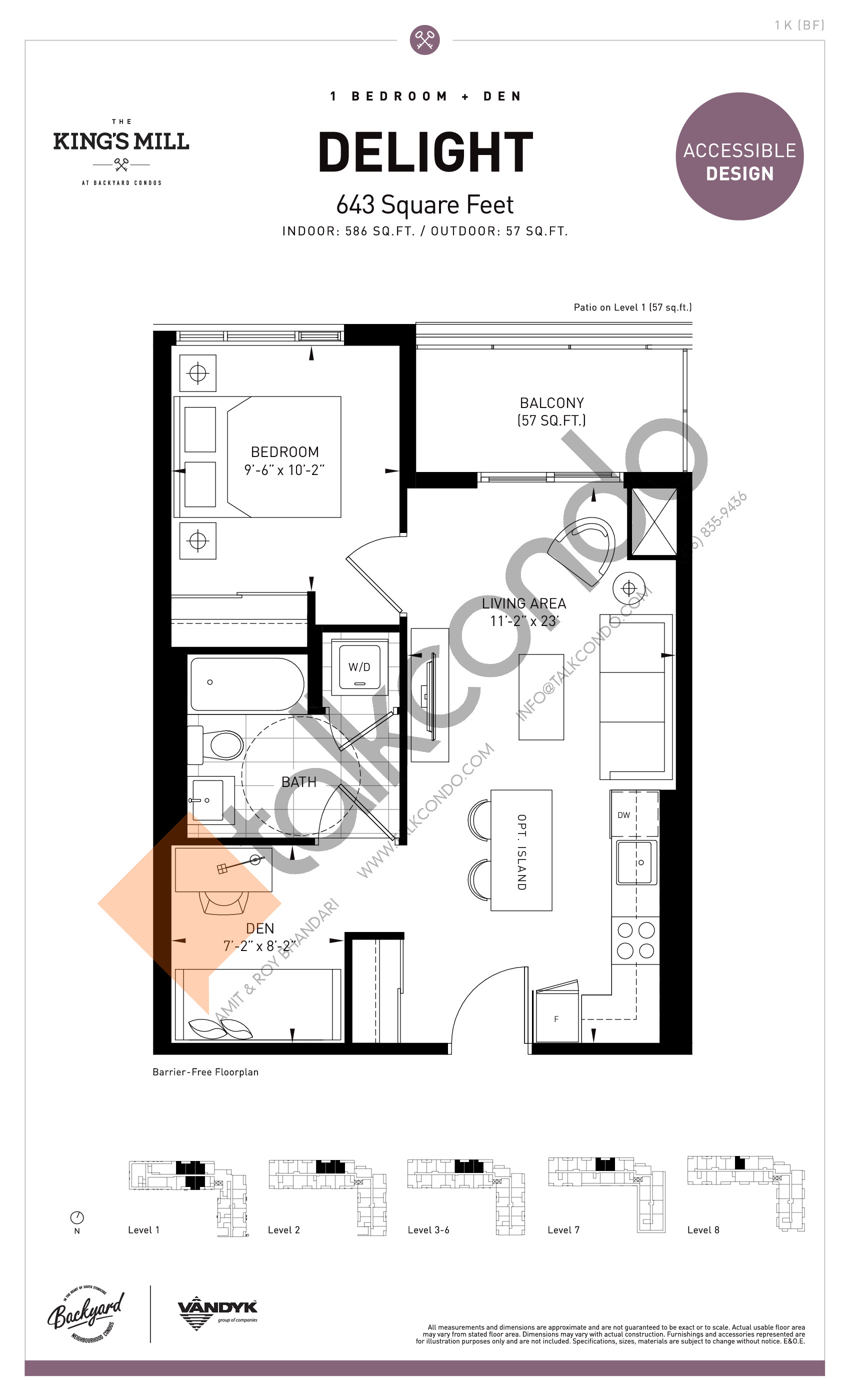 Delight Floor Plan at The King's Mill Condos - 586 sq.ft