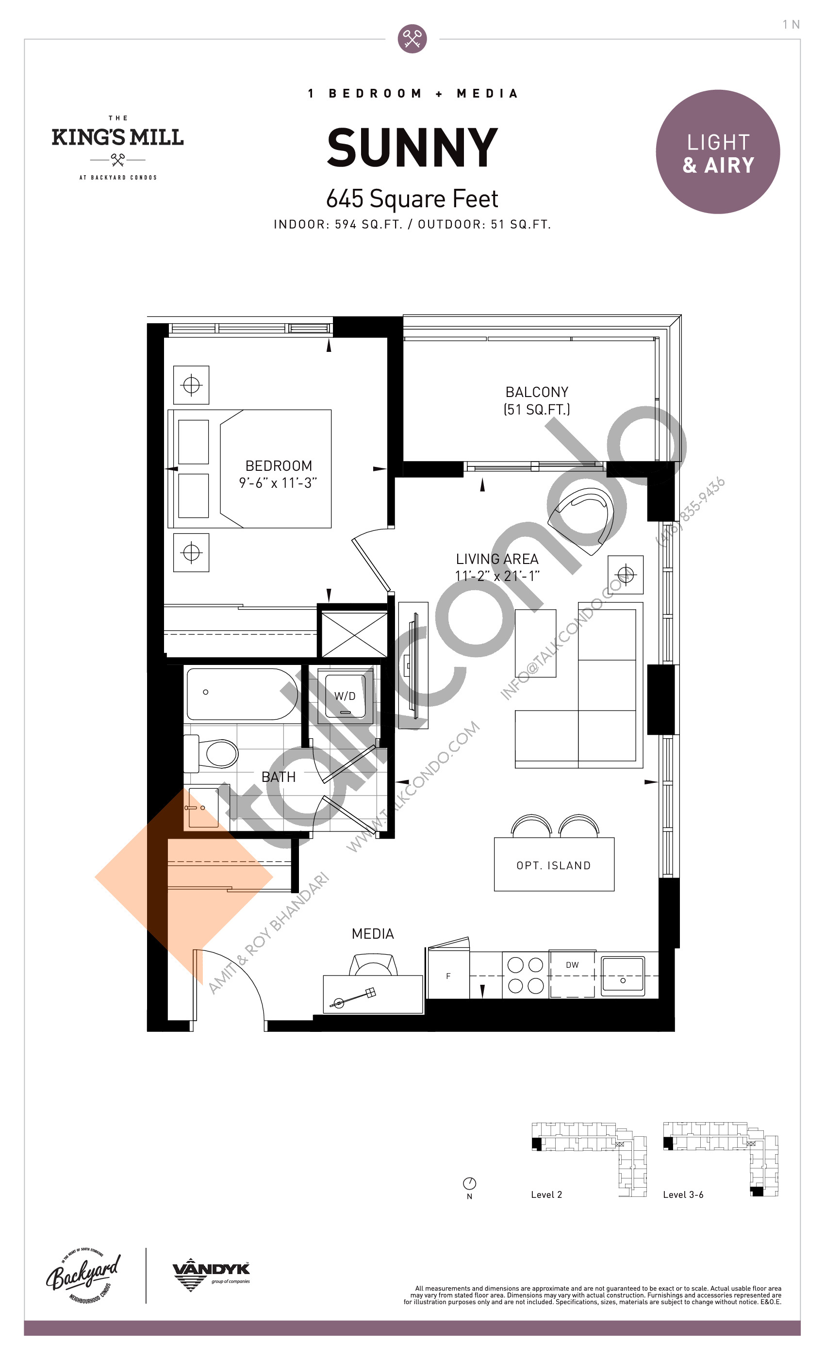 Sunny Floor Plan at The King's Mill Condos - 594 sq.ft