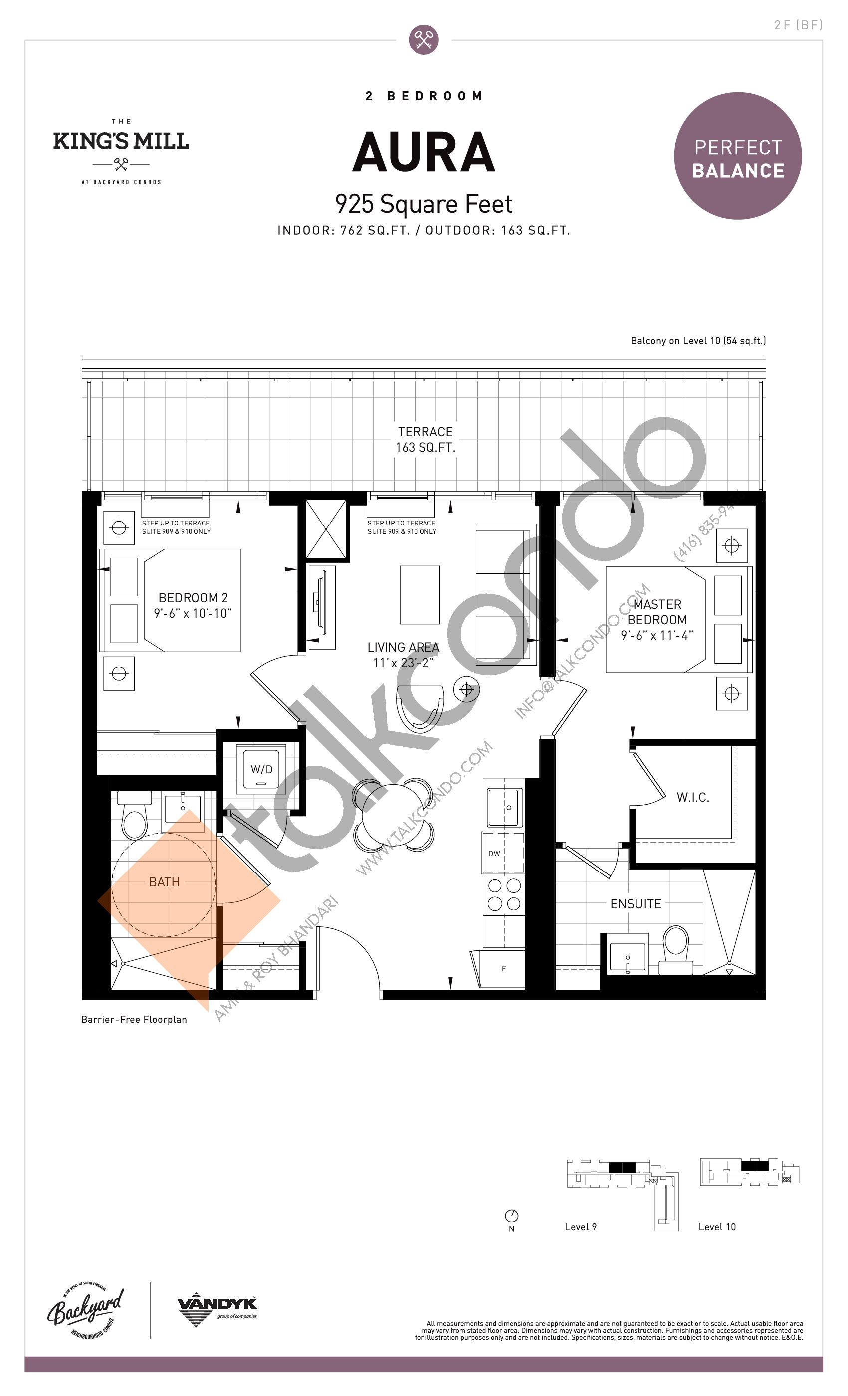 Aura Floor Plan at The King's Mill Condos - 762 sq.ft