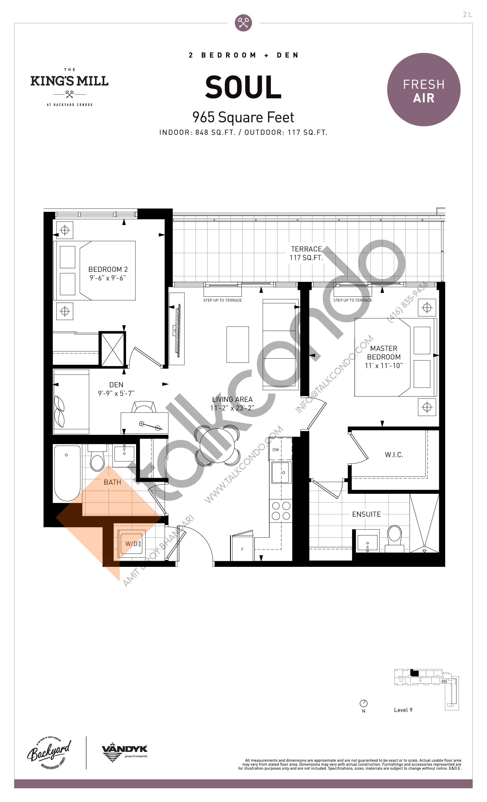 Soul Floor Plan at The King's Mill Condos - 848 sq.ft
