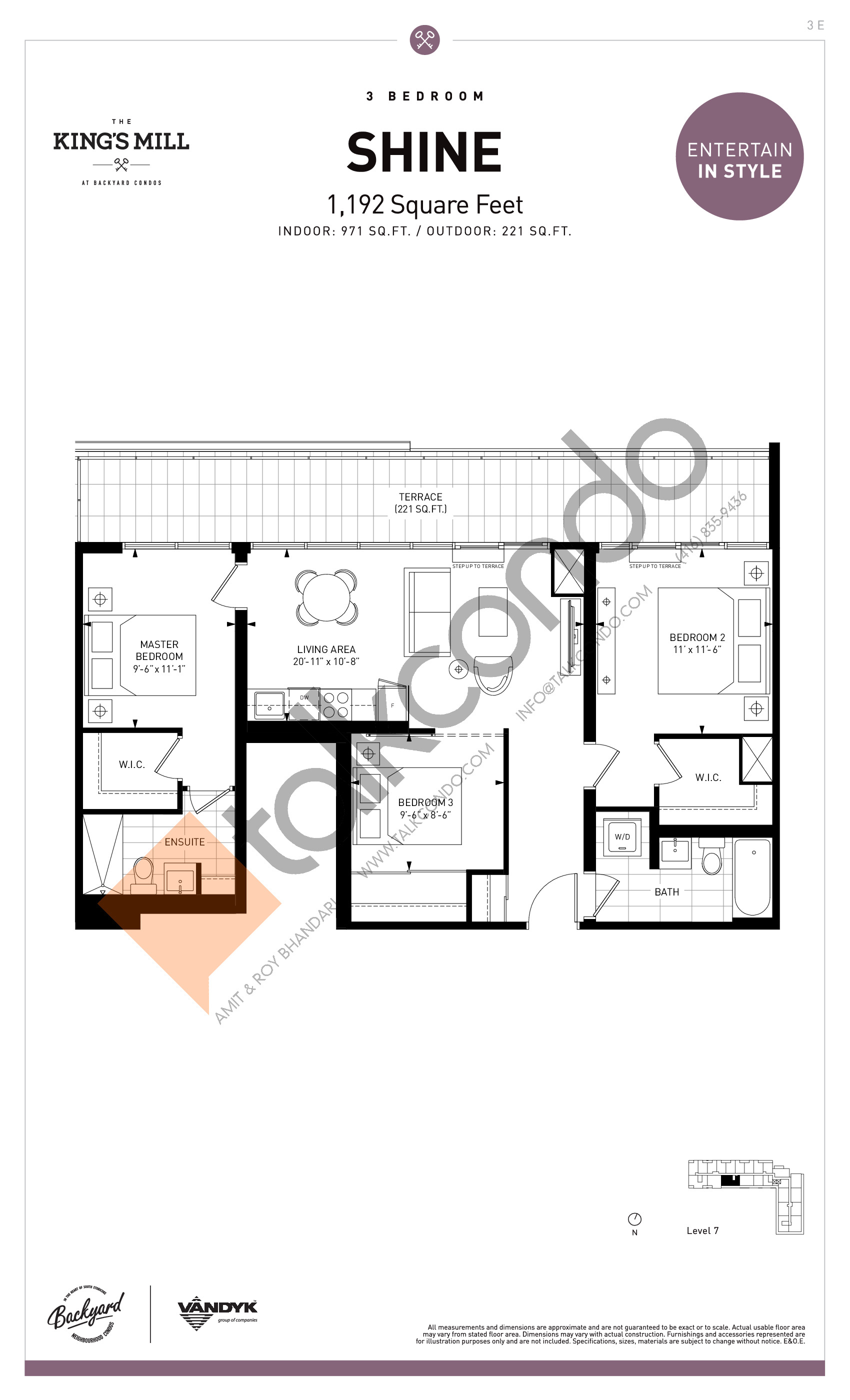 Shine Floor Plan at The King's Mill Condos - 971 sq.ft