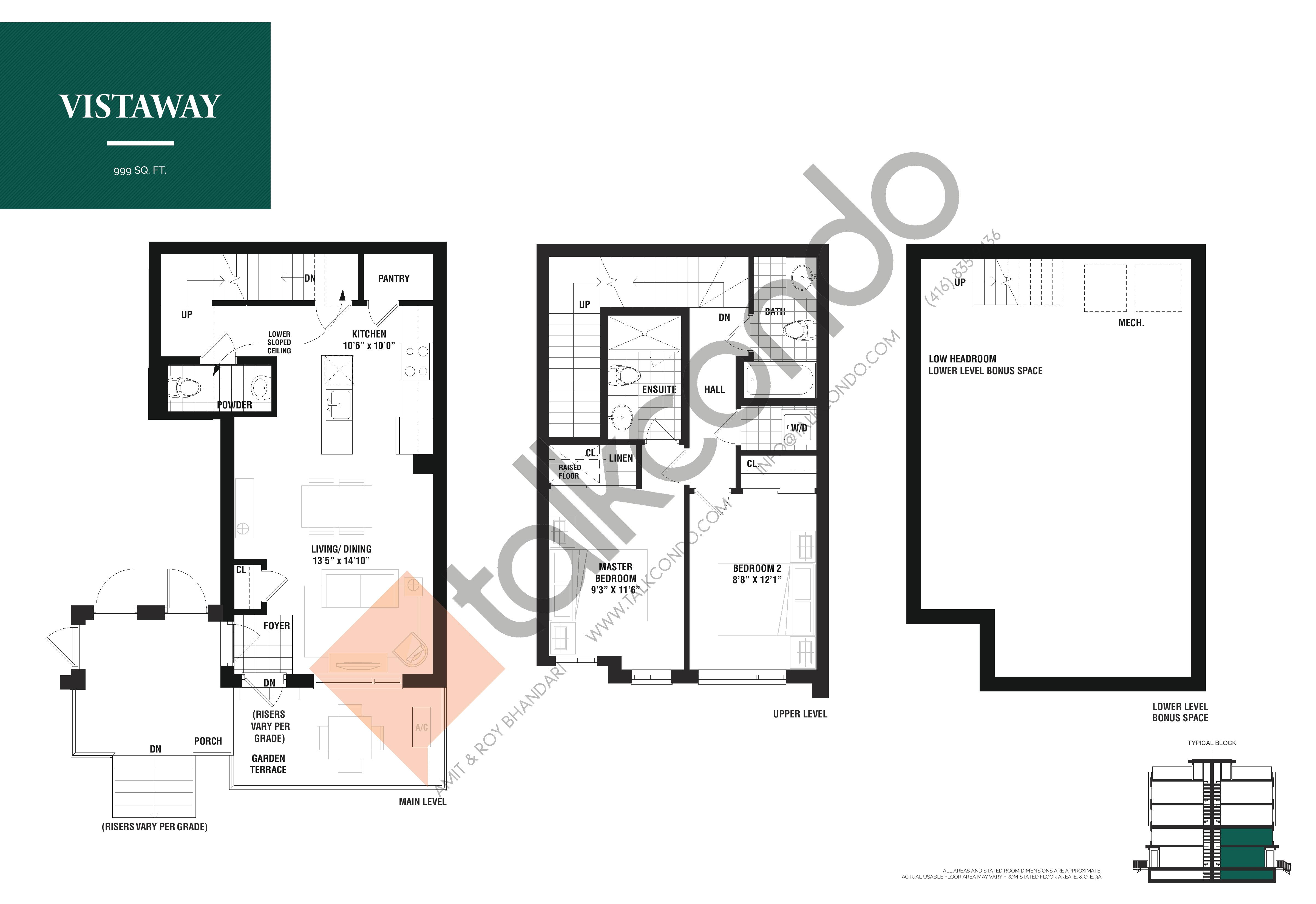 Vistaway Floor Plan at The Way Urban Towns - 999 sq.ft