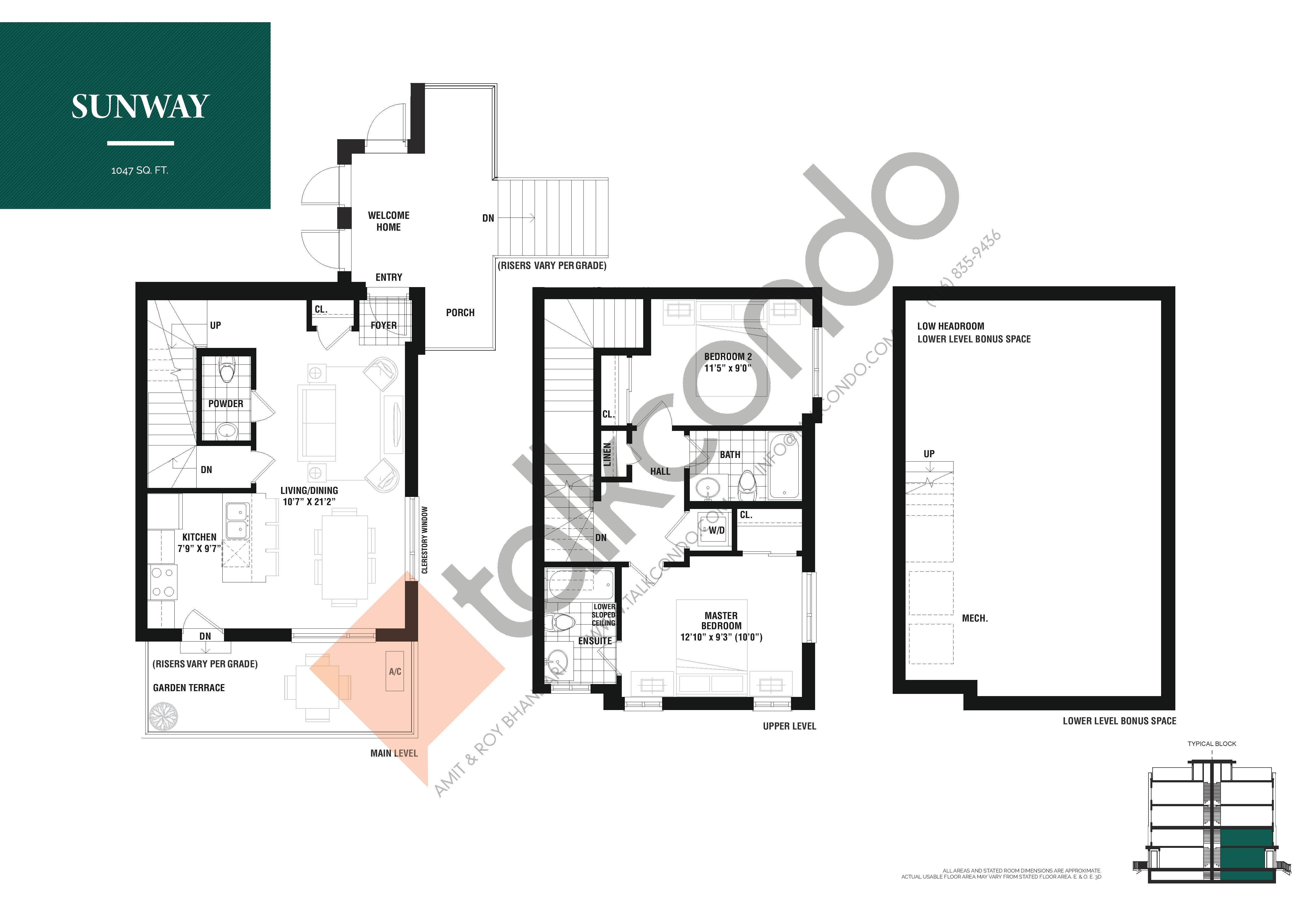 Sunway Floor Plan at The Way Urban Towns - 1047 sq.ft