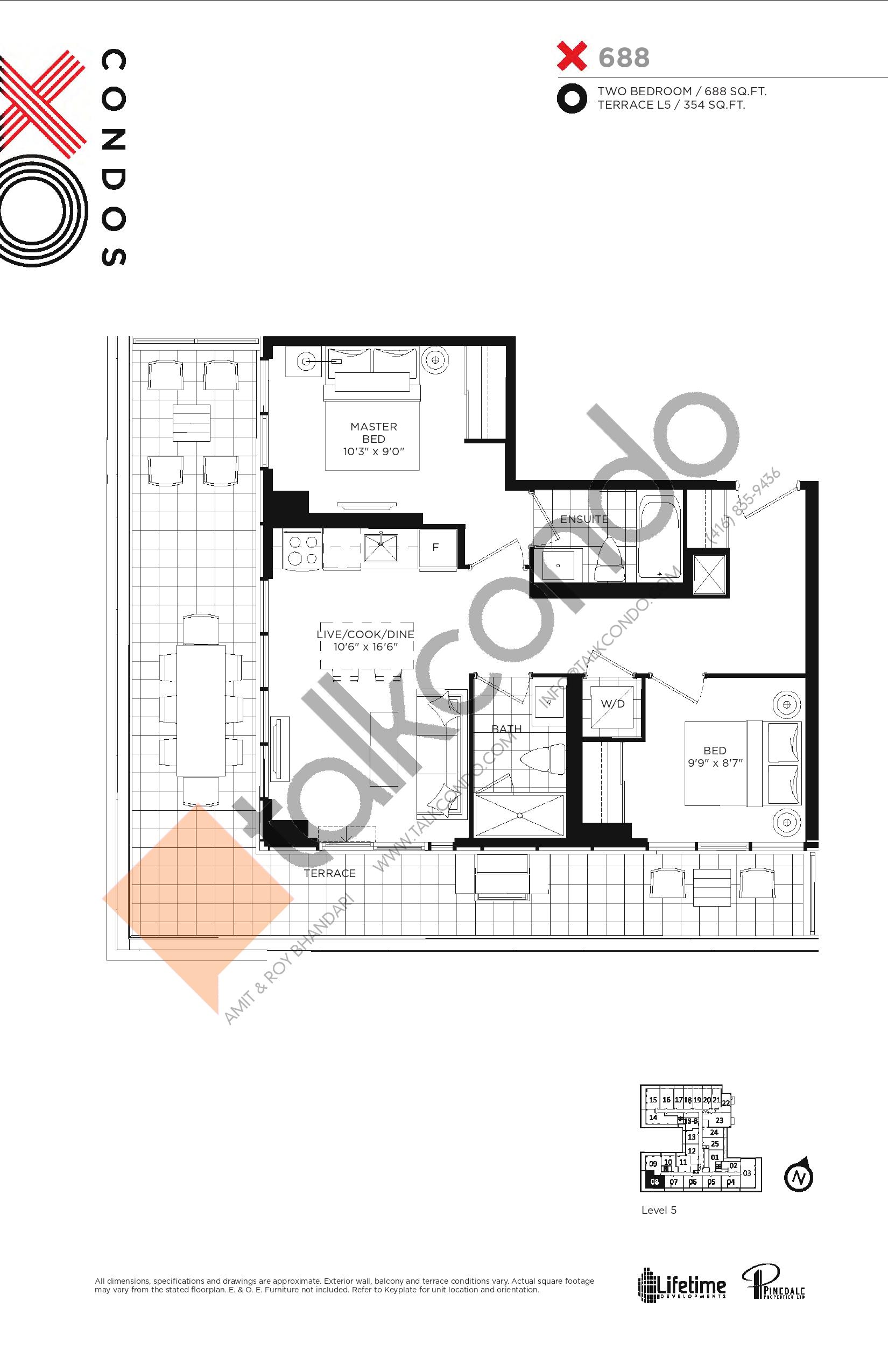 688 Floor Plan at XO Condos - 688 sq.ft