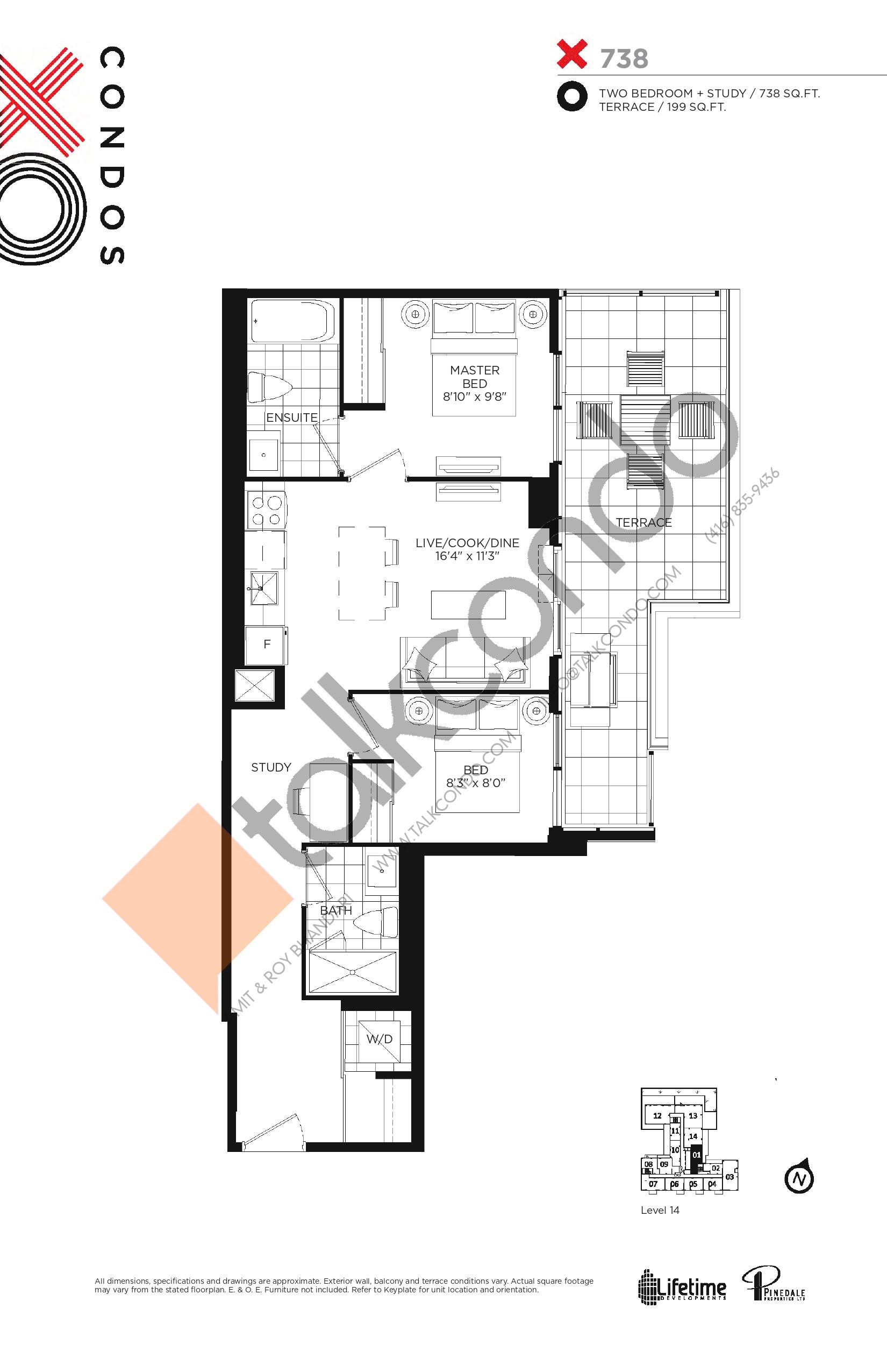 738 Floor Plan at XO Condos - 738 sq.ft