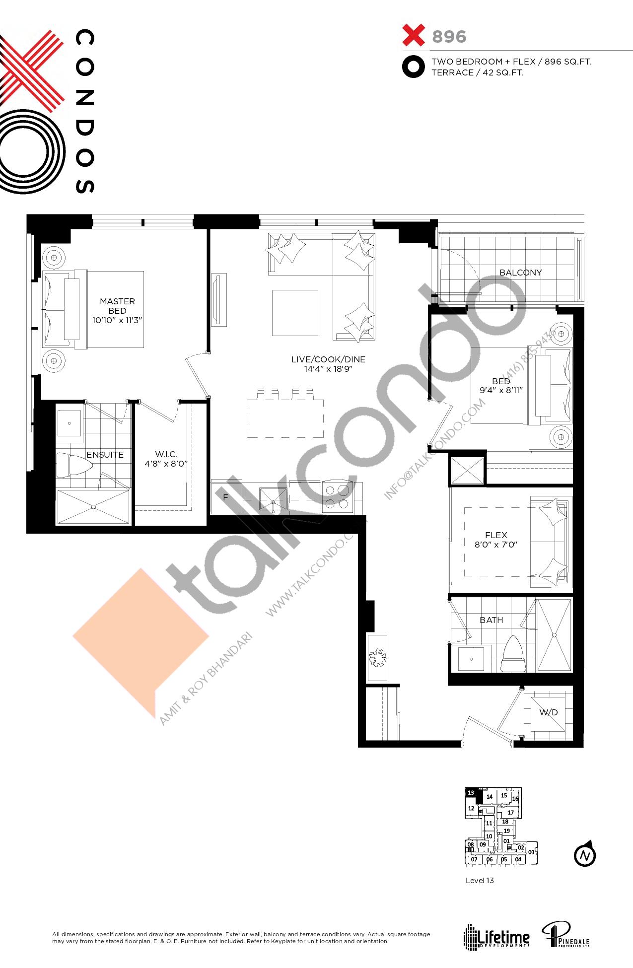 896 Floor Plan at XO Condos - 896 sq.ft
