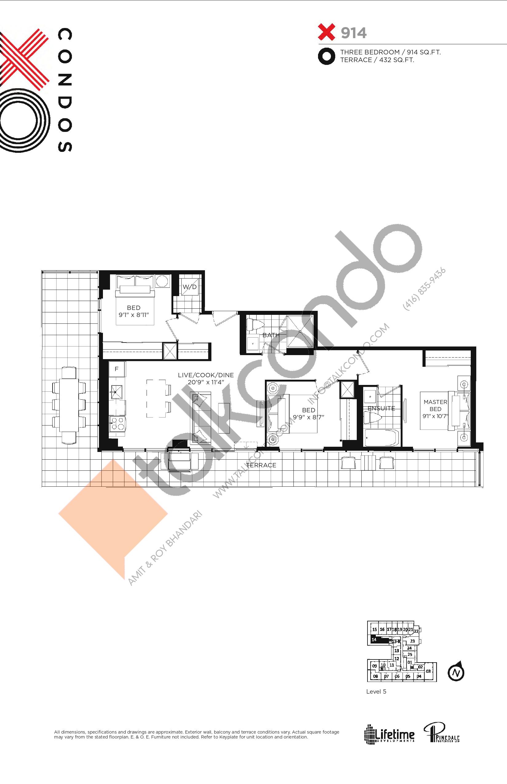 914 Floor Plan at XO Condos - 914 sq.ft