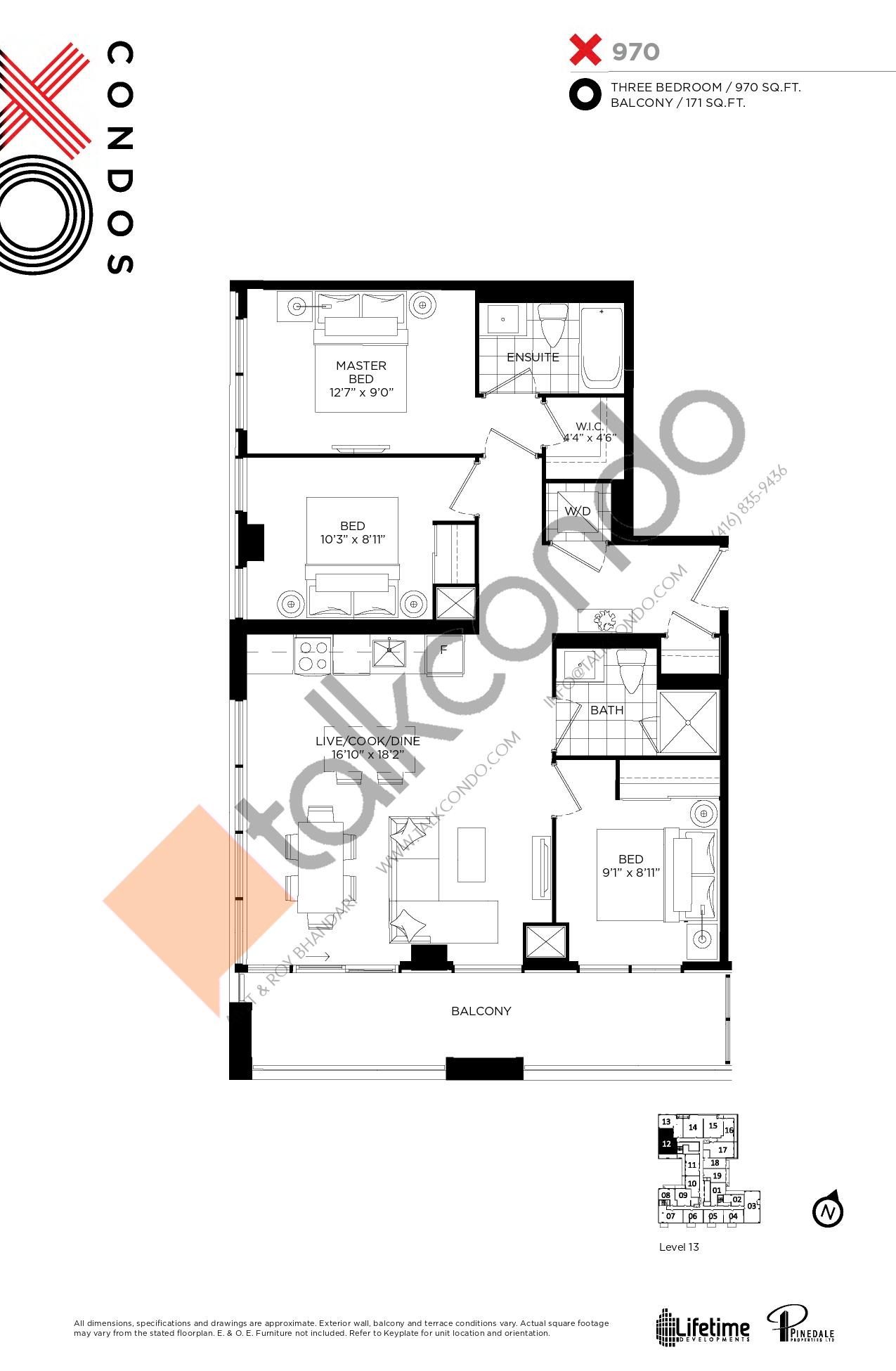 970 Floor Plan at XO Condos - 970 sq.ft