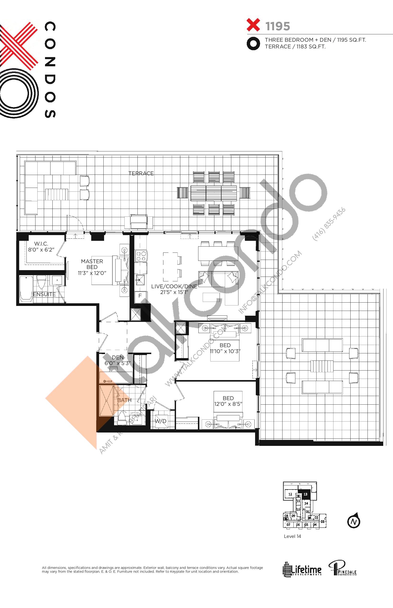 1195 Floor Plan at XO Condos - 1195 sq.ft