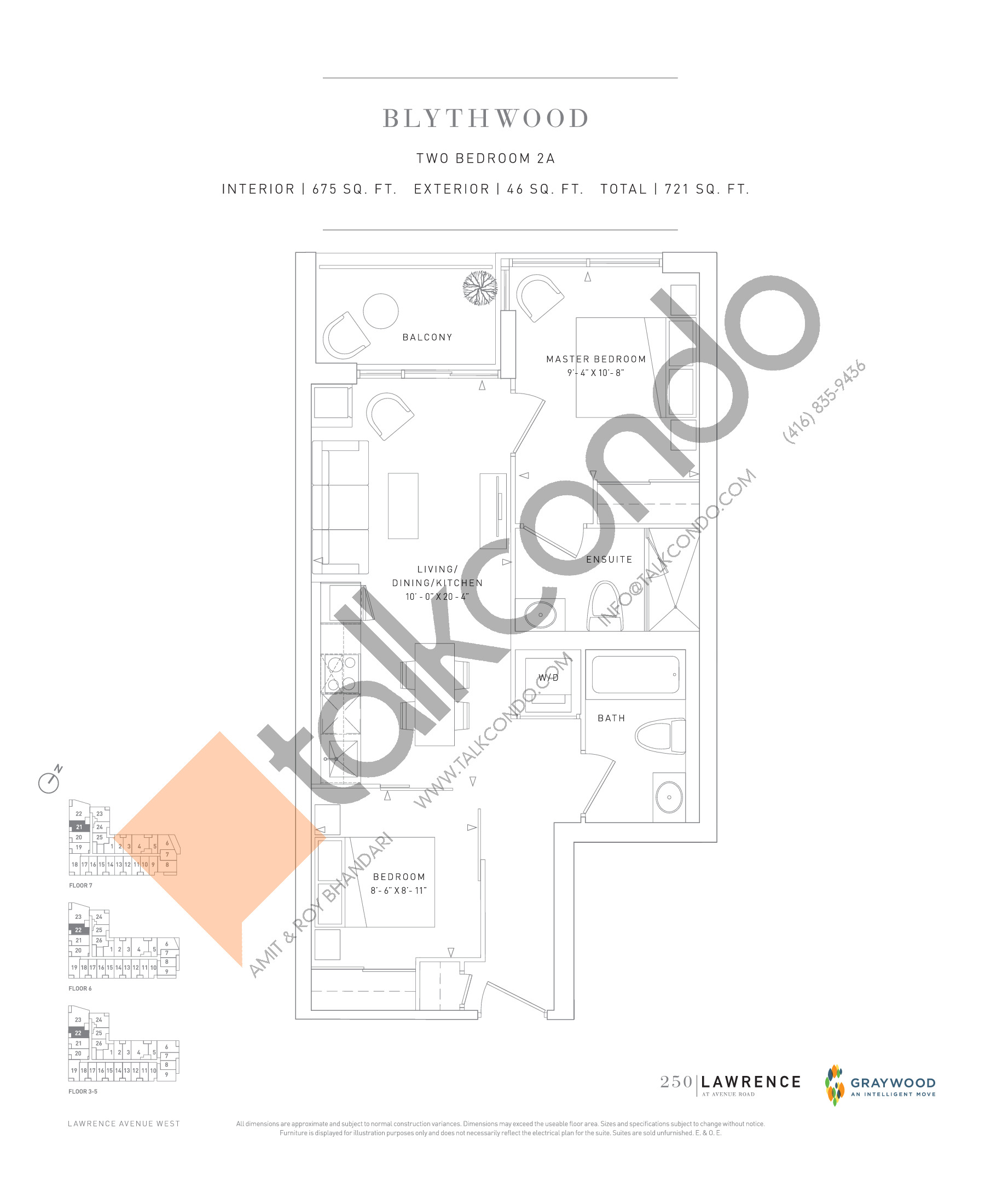 Blythwood Floor Plan at 250 Lawrence Avenue West Condos - 675 sq.ft