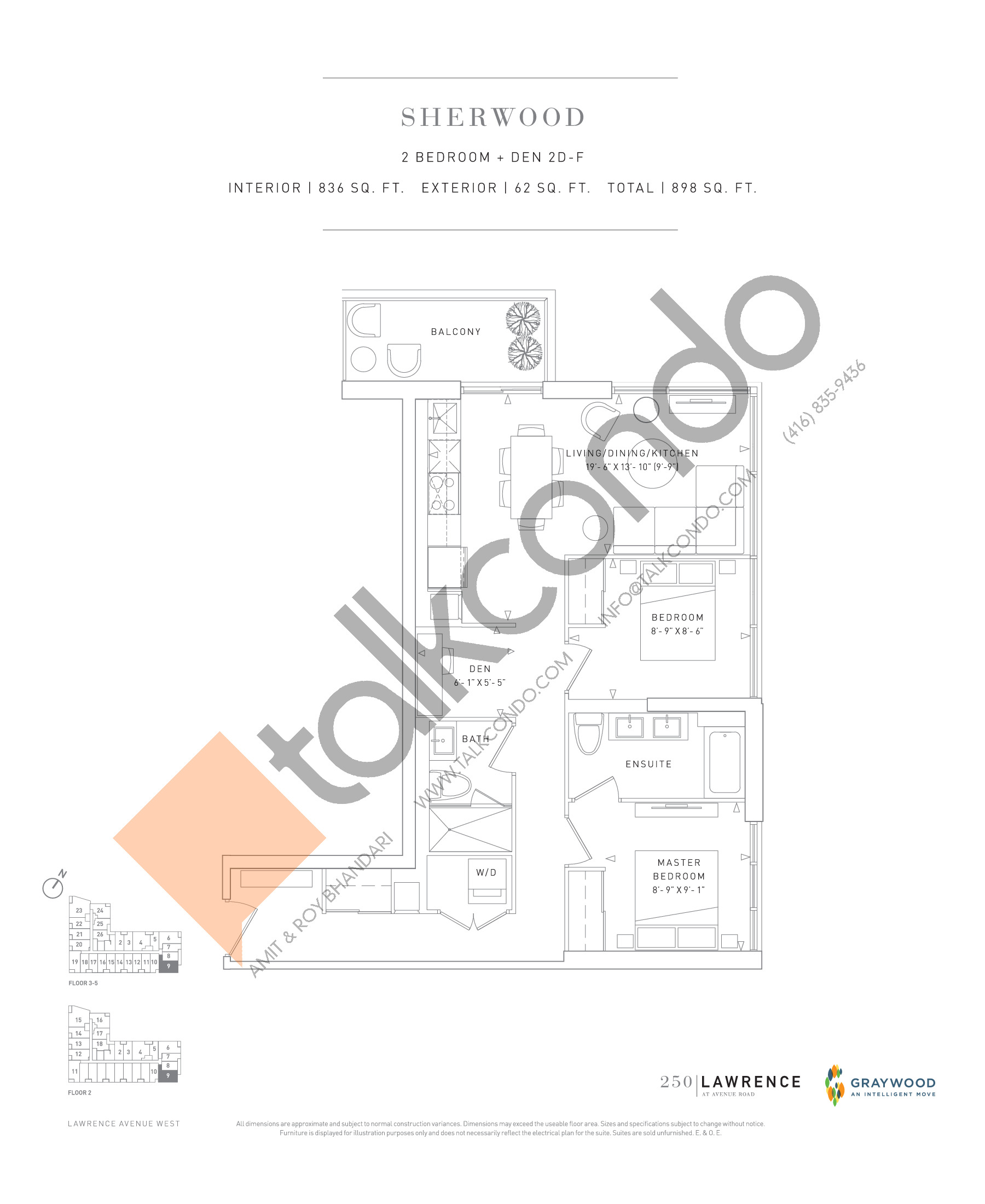 Sherwood Floor Plan at 250 Lawrence Avenue West Condos - 836 sq.ft