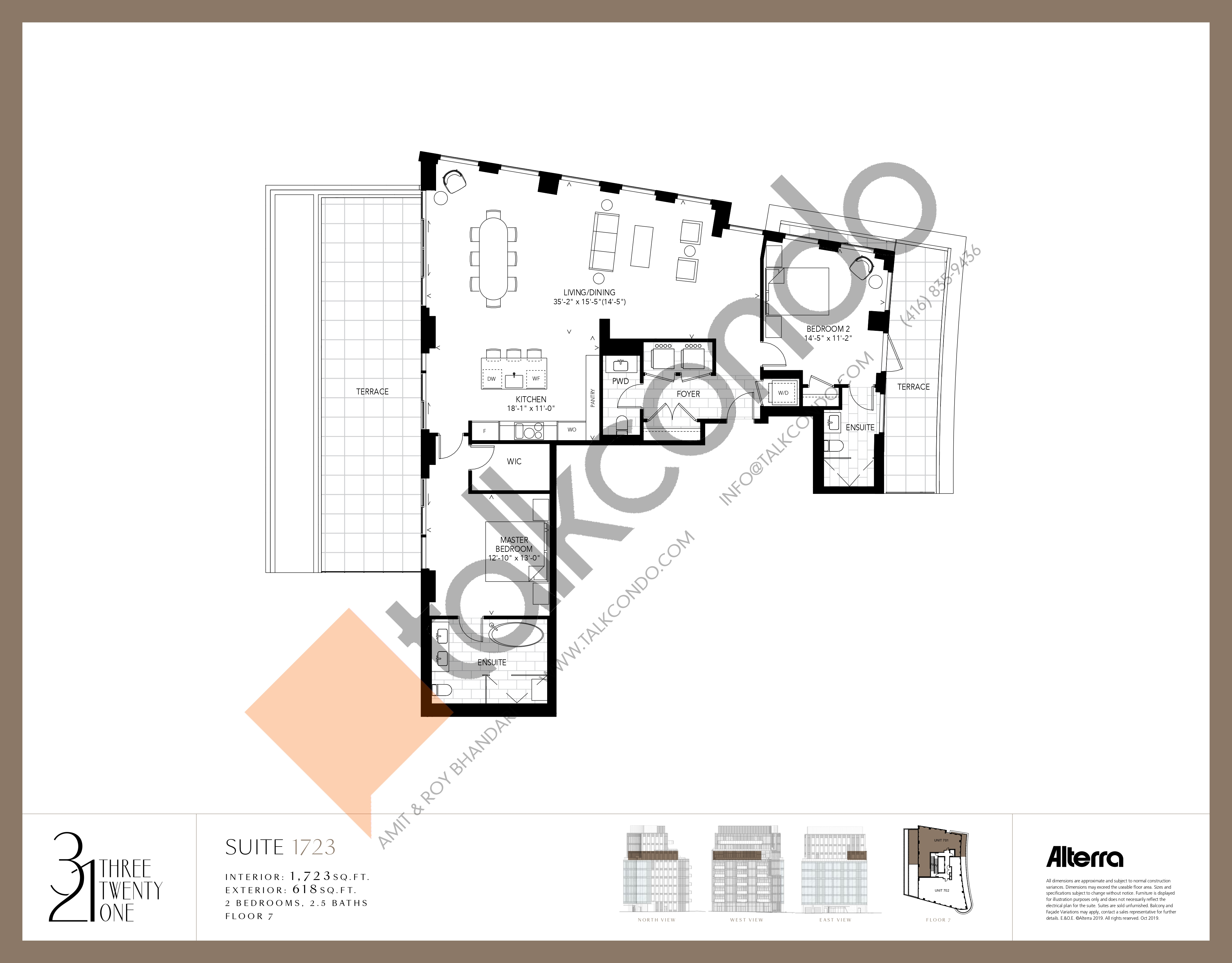 1723 Floor Plan at 321 Davenport Condos - 1723 sq.ft