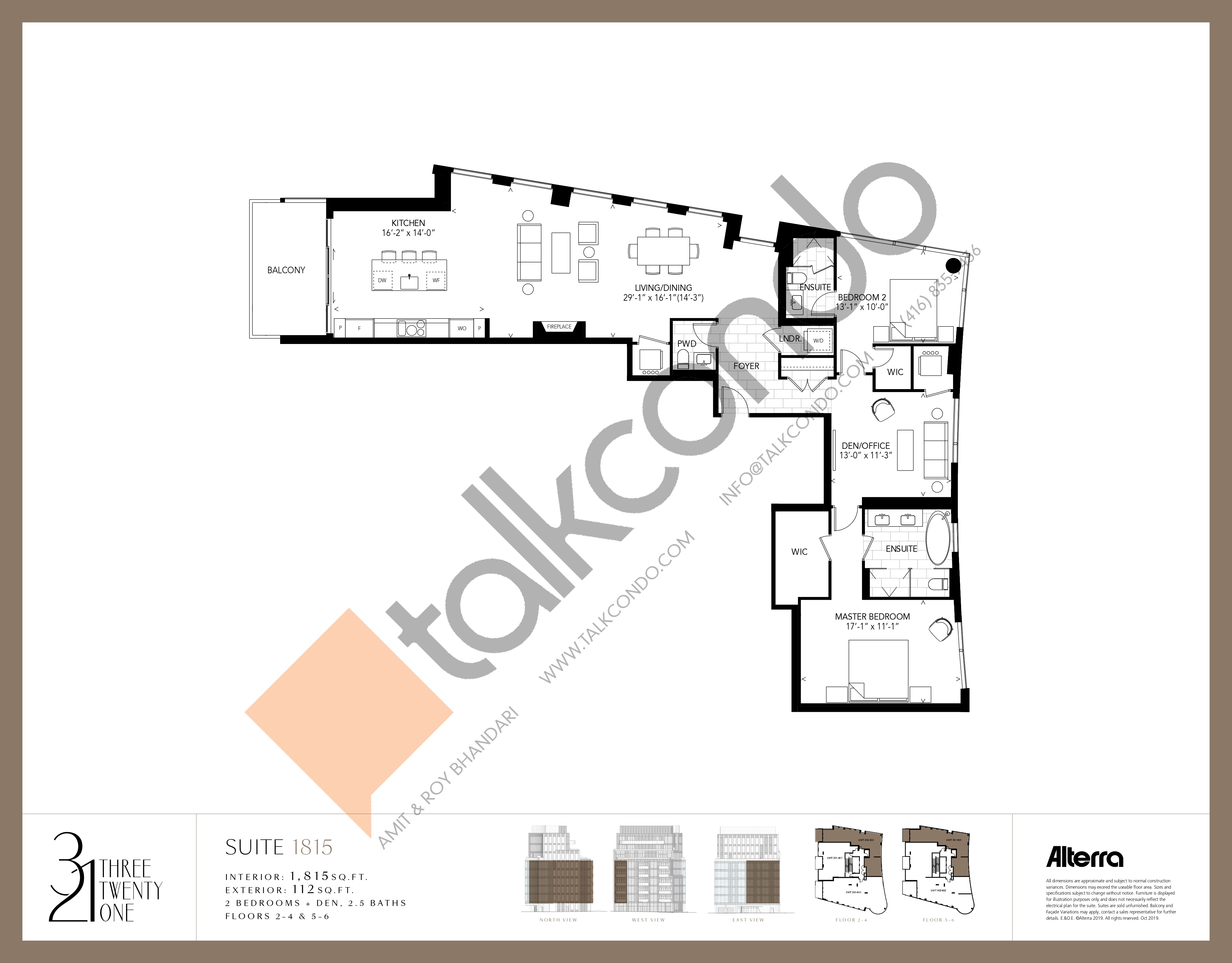 1815 Floor Plan at 321 Davenport Condos - 1815 sq.ft