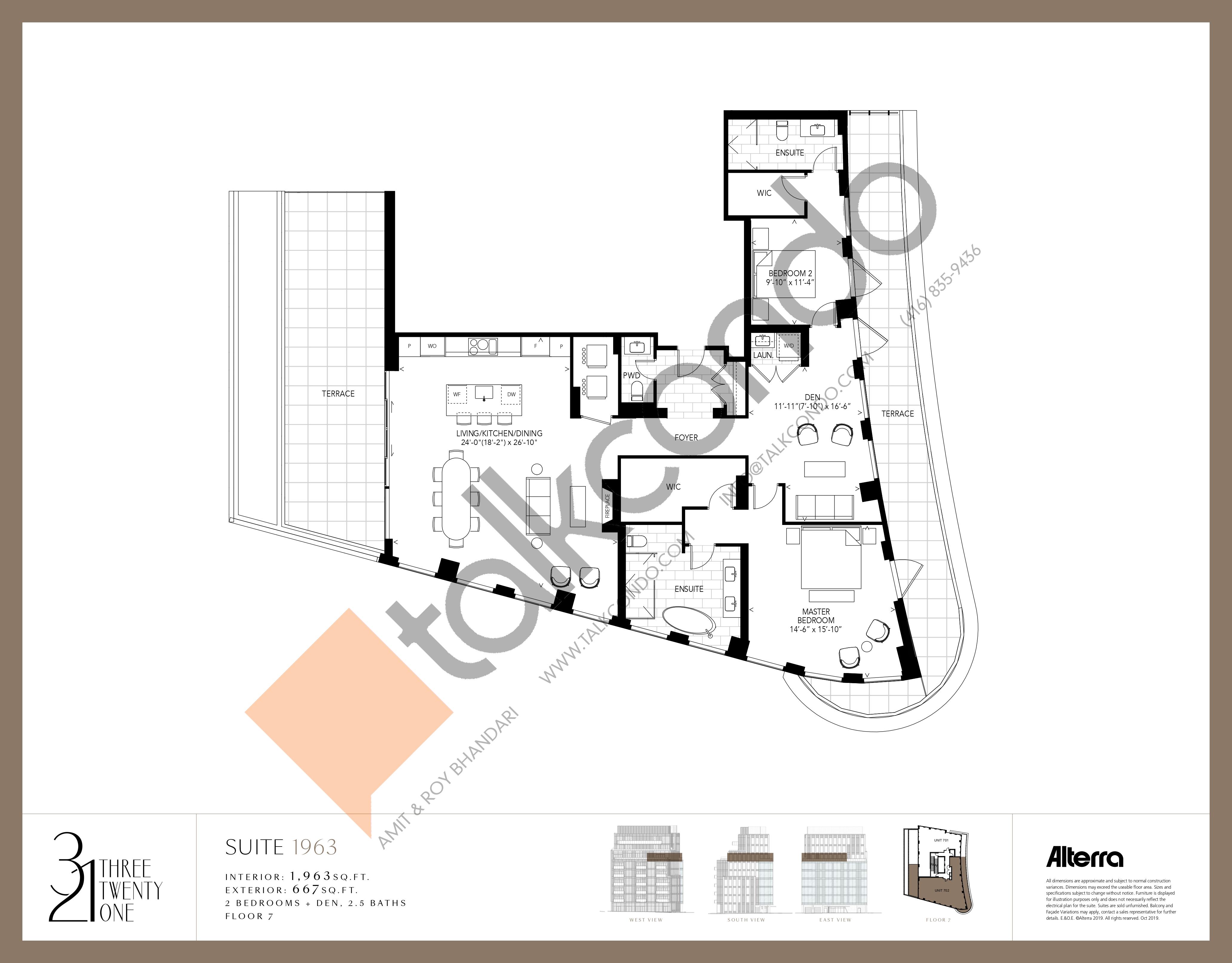 1963 Floor Plan at 321 Davenport Condos - 1963 sq.ft