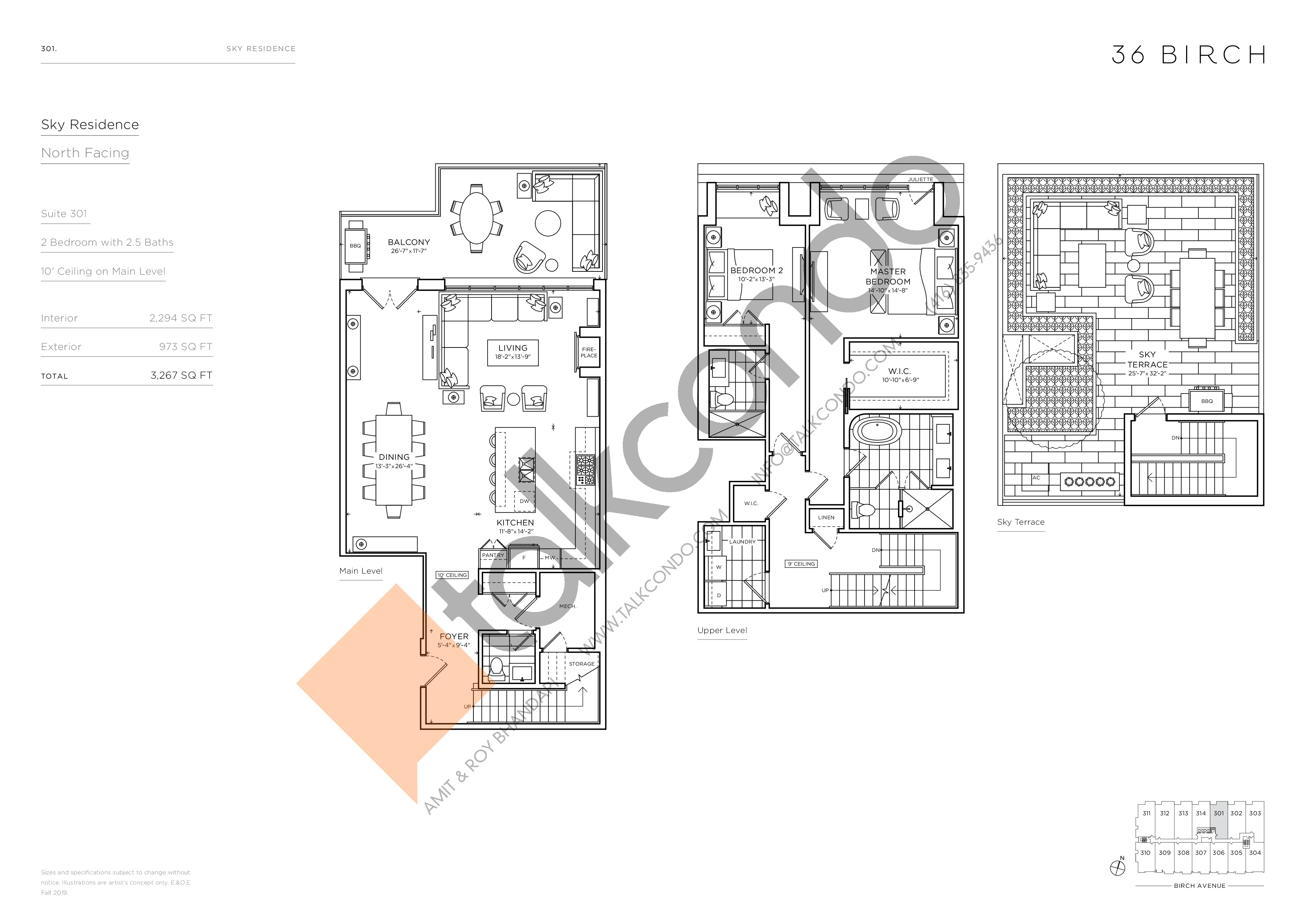 301 - Sky Residence Floor Plan at 36 Birch Avenue Condos - 2294 sq.ft
