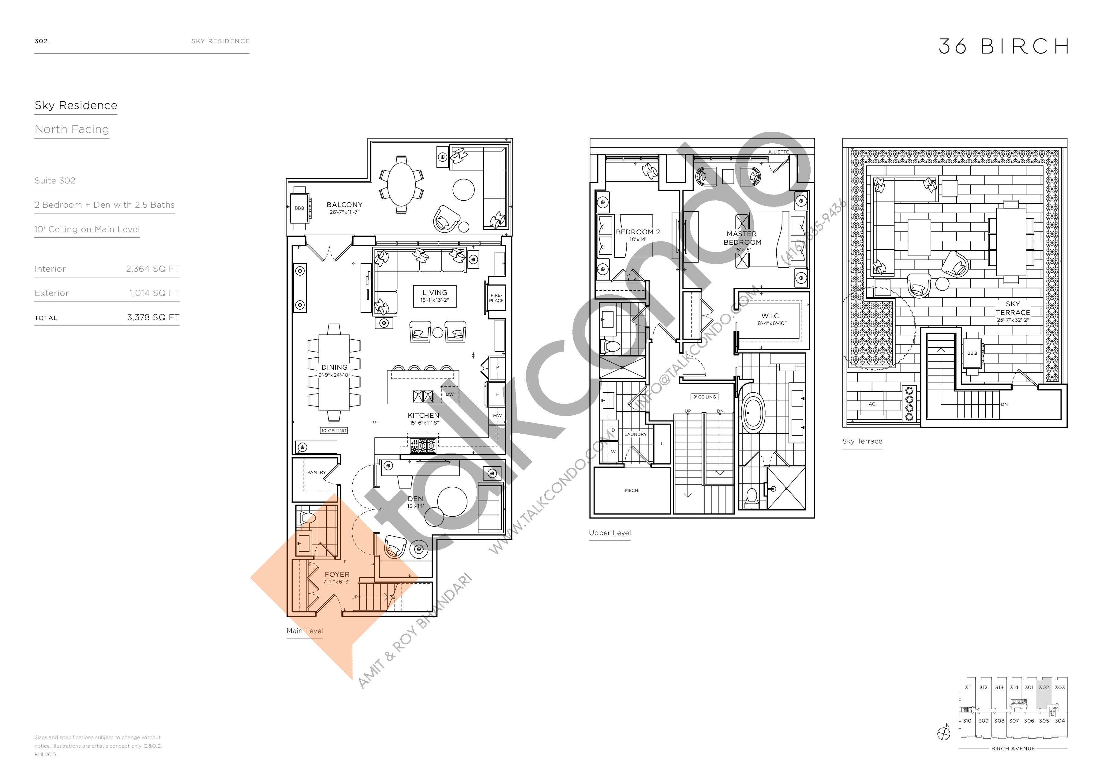 302 - Sky Residence Floor Plan at 36 Birch Condos - 2364 sq.ft