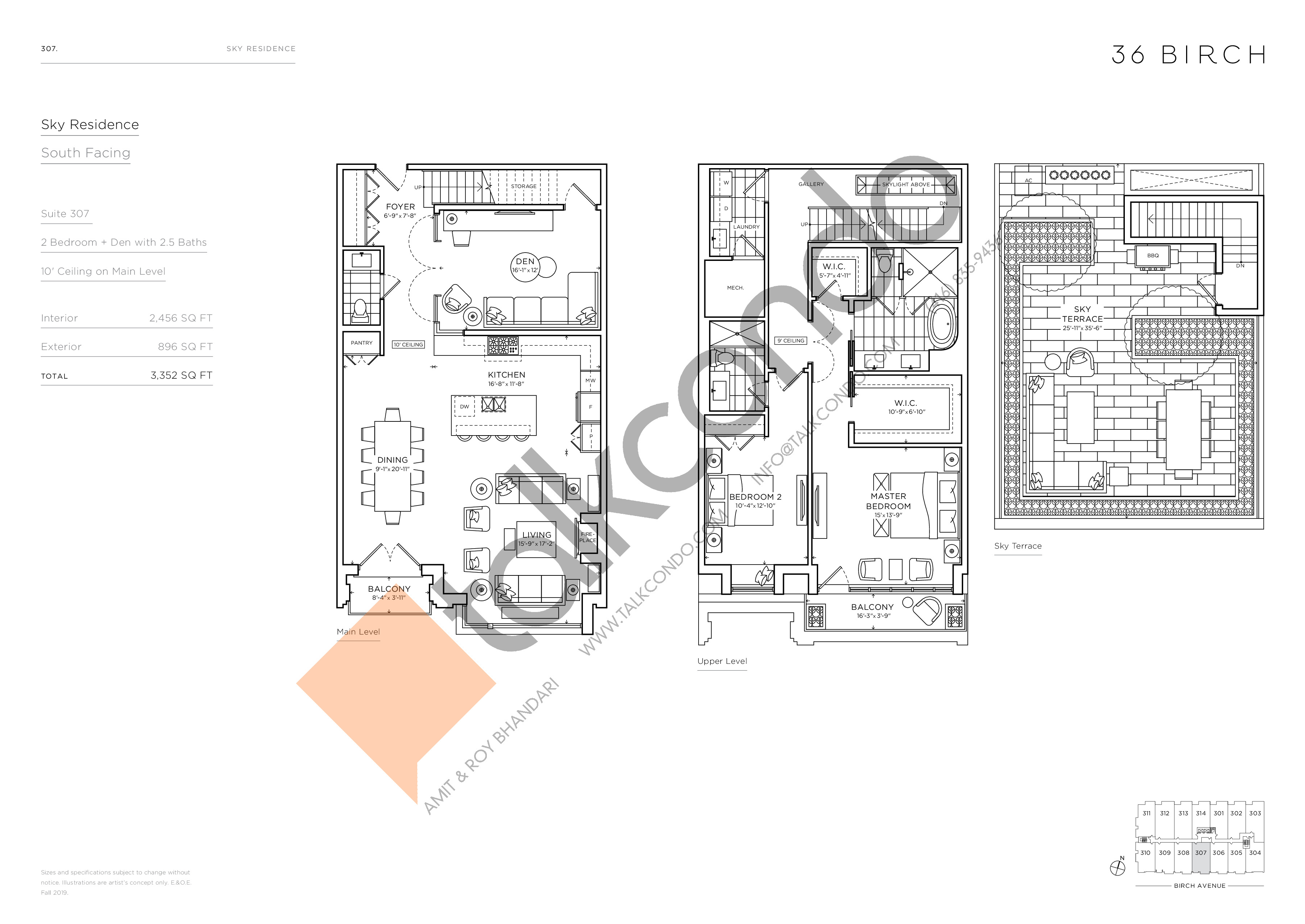 307 - Sky Residence Floor Plan at 36 Birch Avenue Condos - 2456 sq.ft