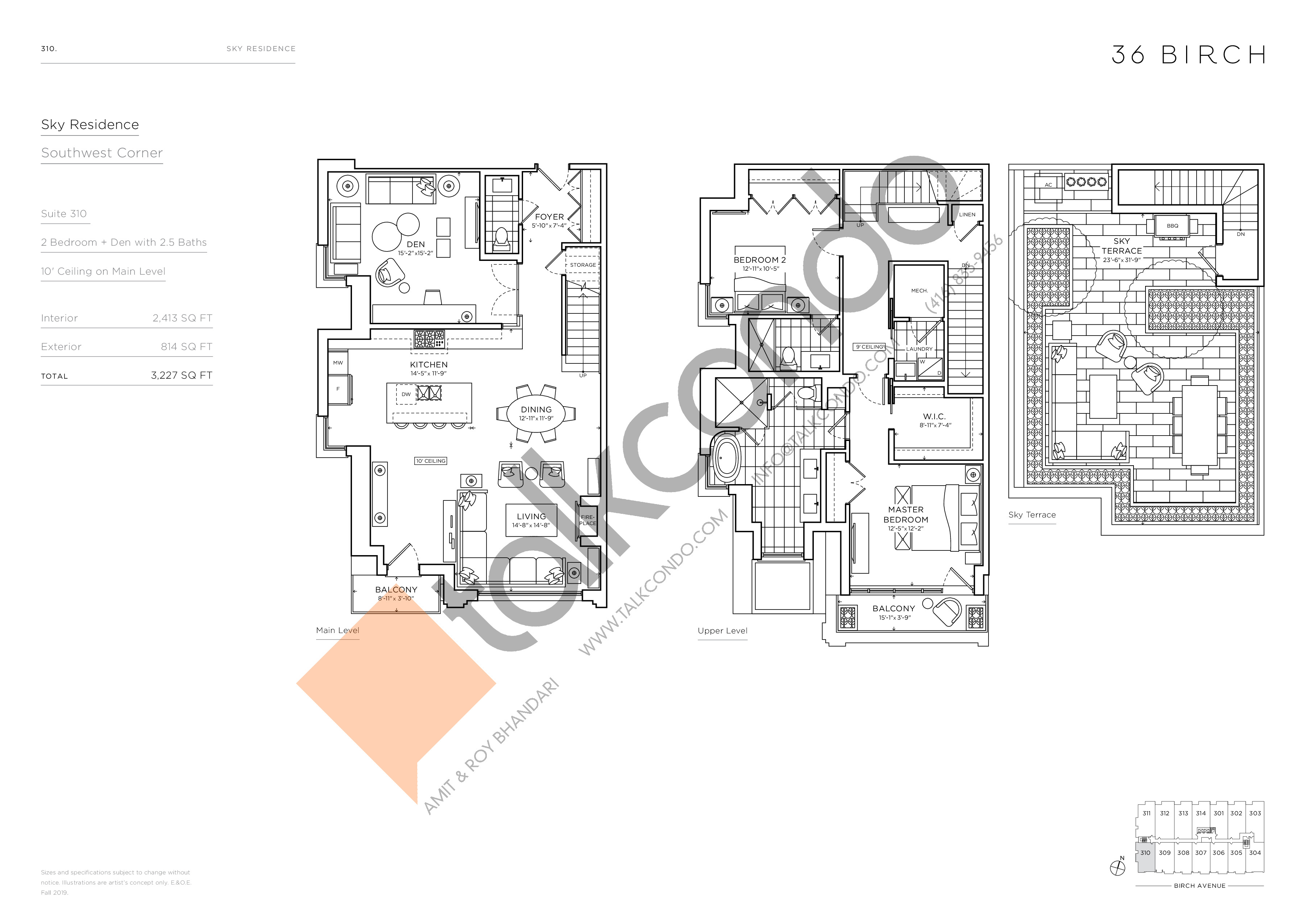 310 - Sky Residence Floor Plan at 36 Birch Avenue Condos - 2413 sq.ft