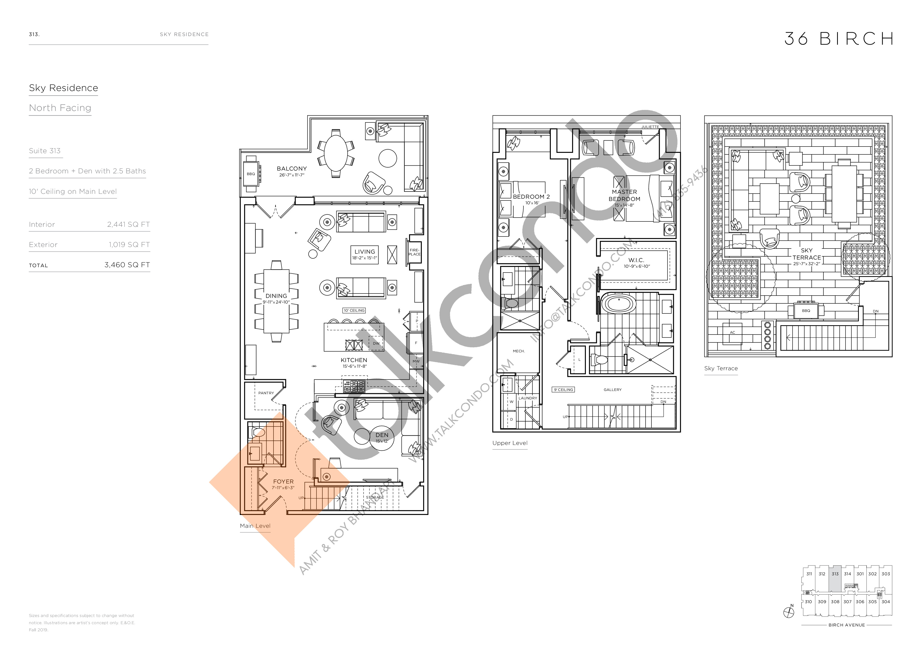 313 - Sky Residence Floor Plan at 36 Birch Avenue Condos - 2441 sq.ft