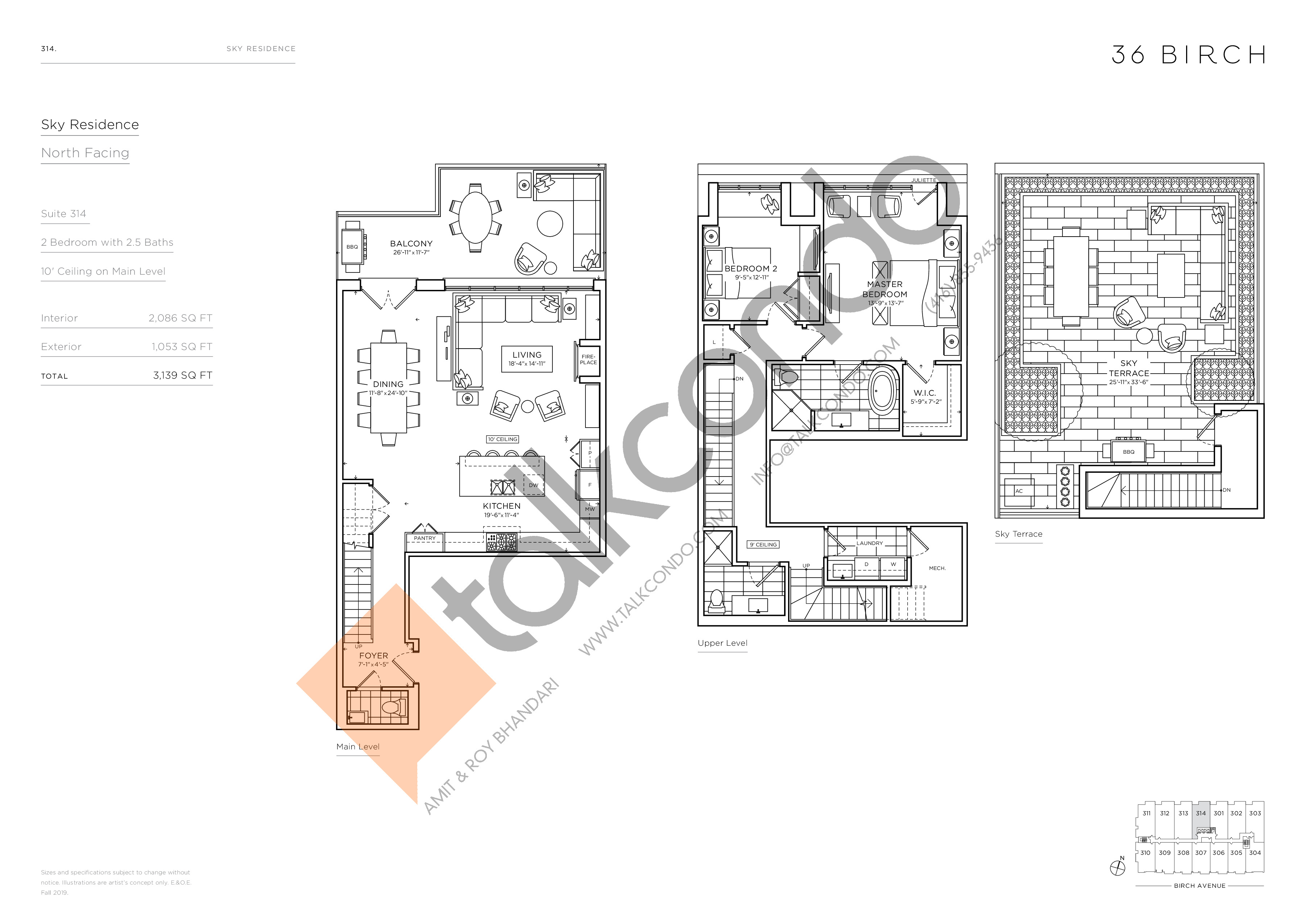 314 - Sky Residence Floor Plan at 36 Birch Avenue Condos - 2086 sq.ft