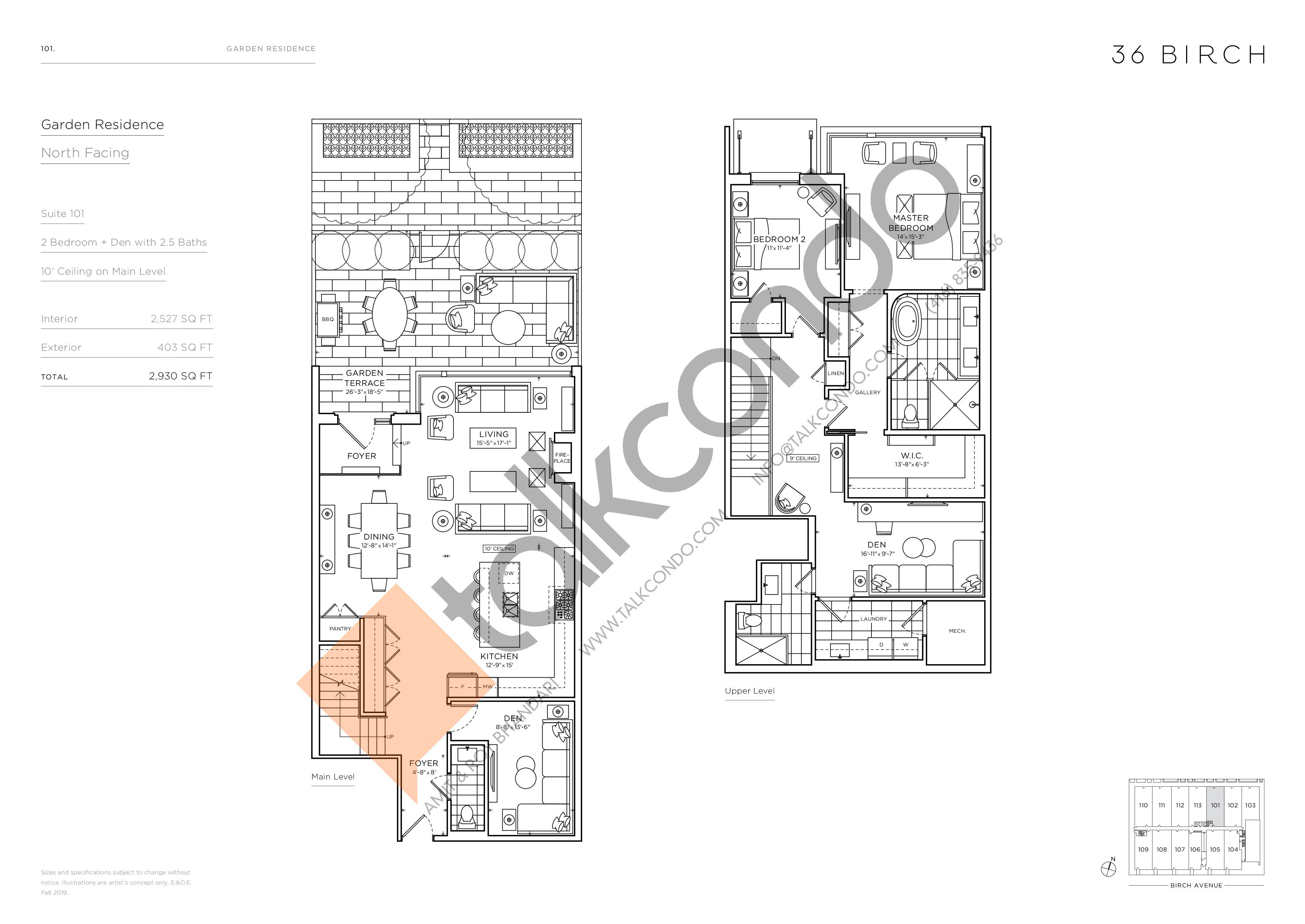 101 - Garden Residences Floor Plan at 36 Birch Avenue Condos - 2527 sq.ft