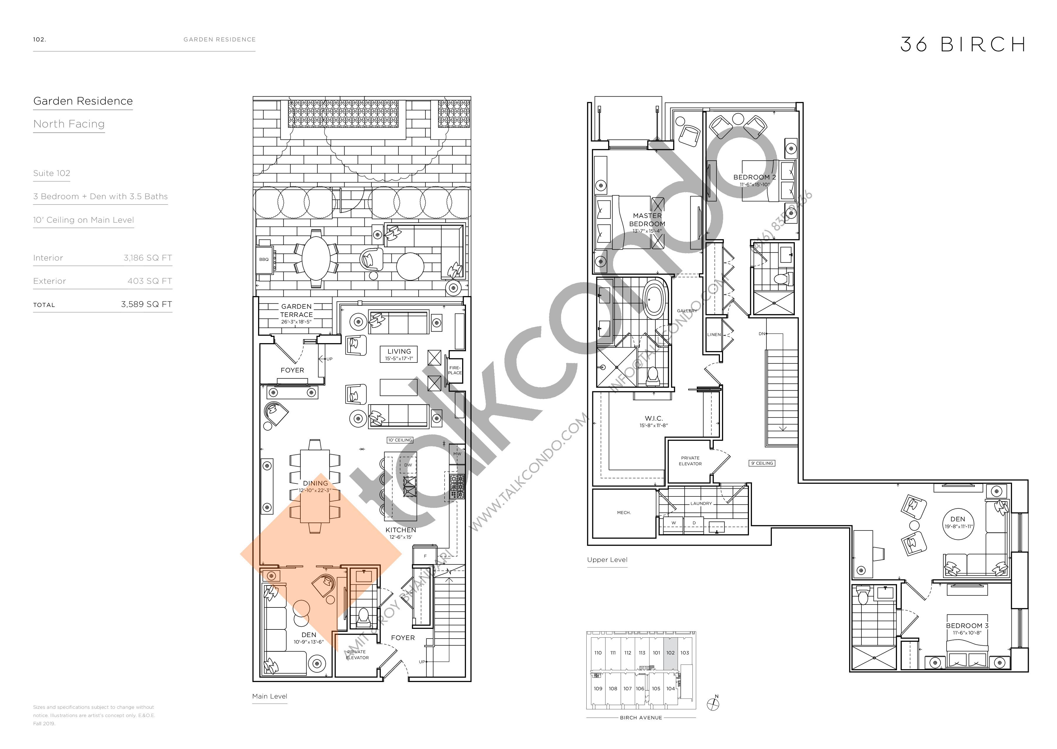 102 - Garden Residences Floor Plan at 36 Birch Avenue Condos - 3186 sq.ft