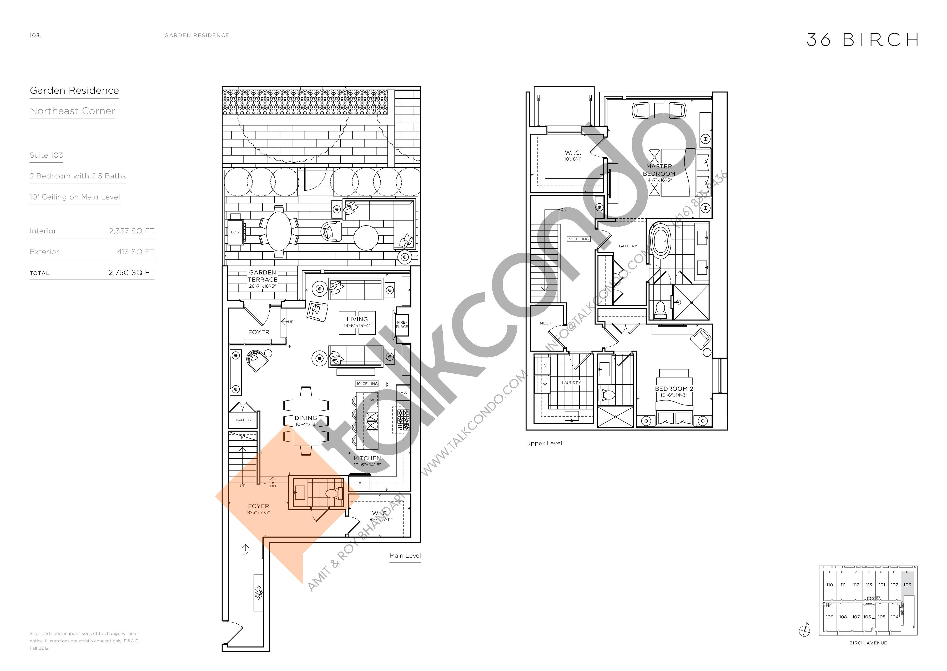 103 - Garden Residences Floor Plan at 36 Birch Condos - 2337 sq.ft