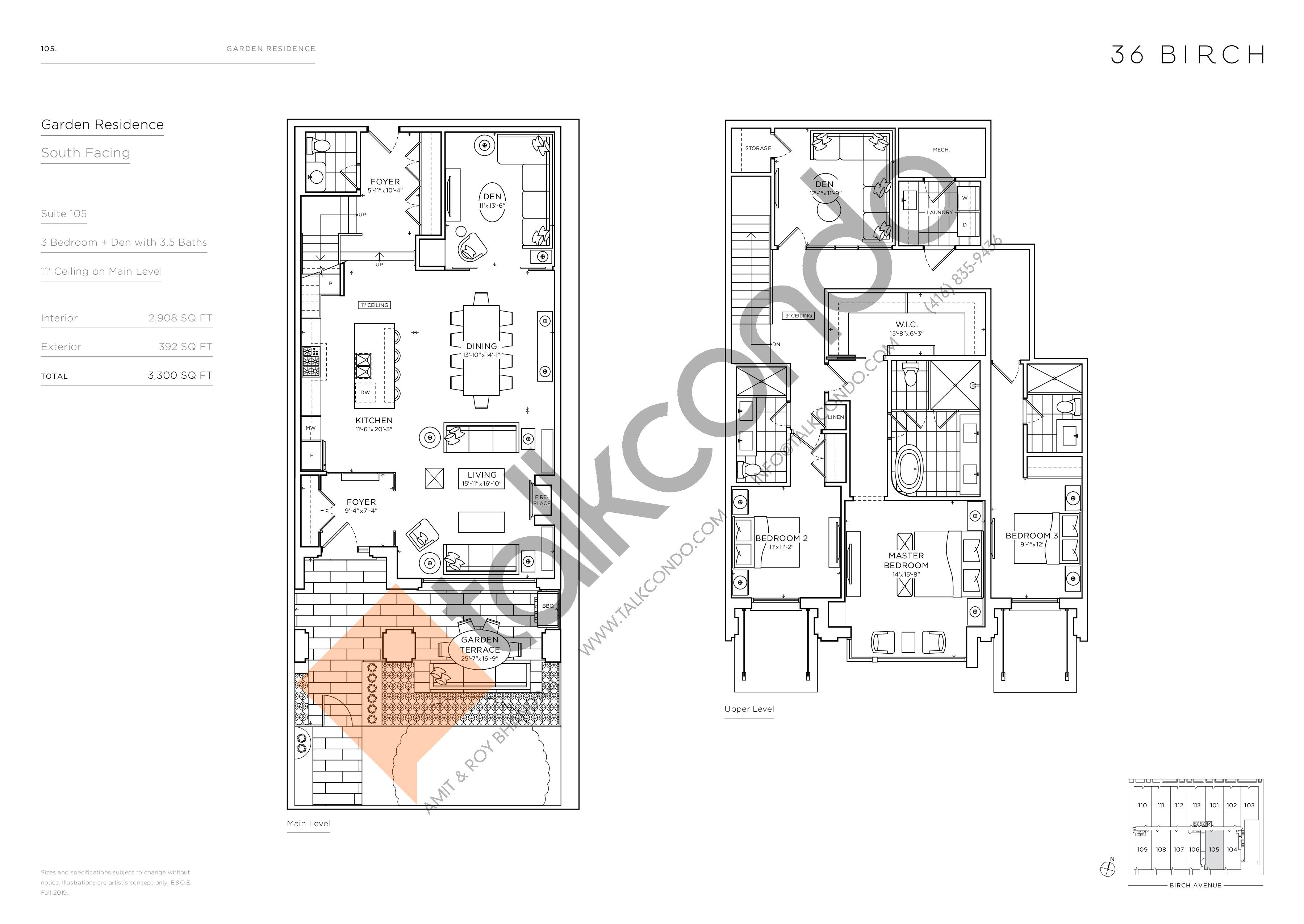 105 - Garden Residences Floor Plan at 36 Birch Avenue Condos - 2908 sq.ft