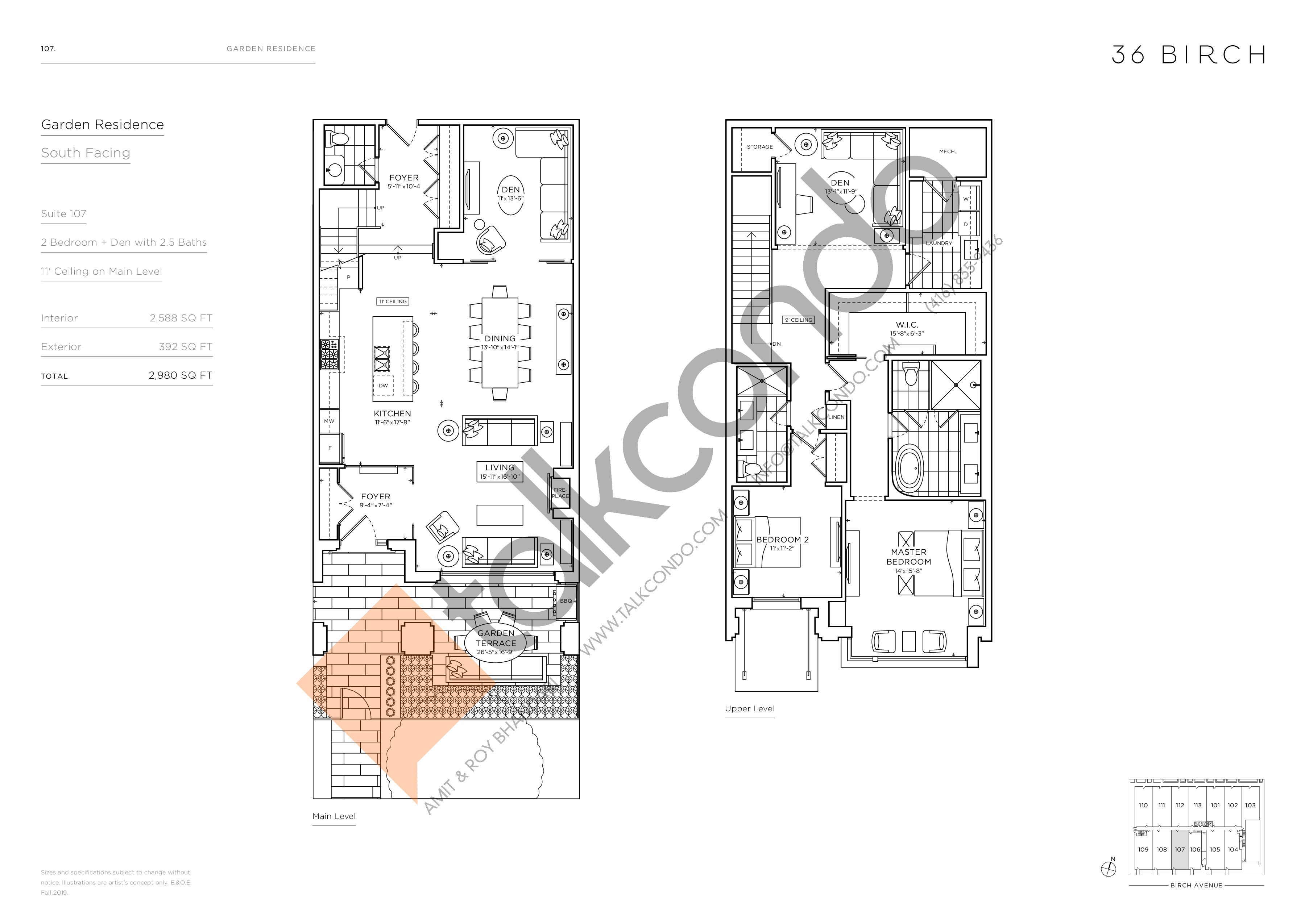 107 - Garden Residences Floor Plan at 36 Birch Avenue Condos - 2588 sq.ft