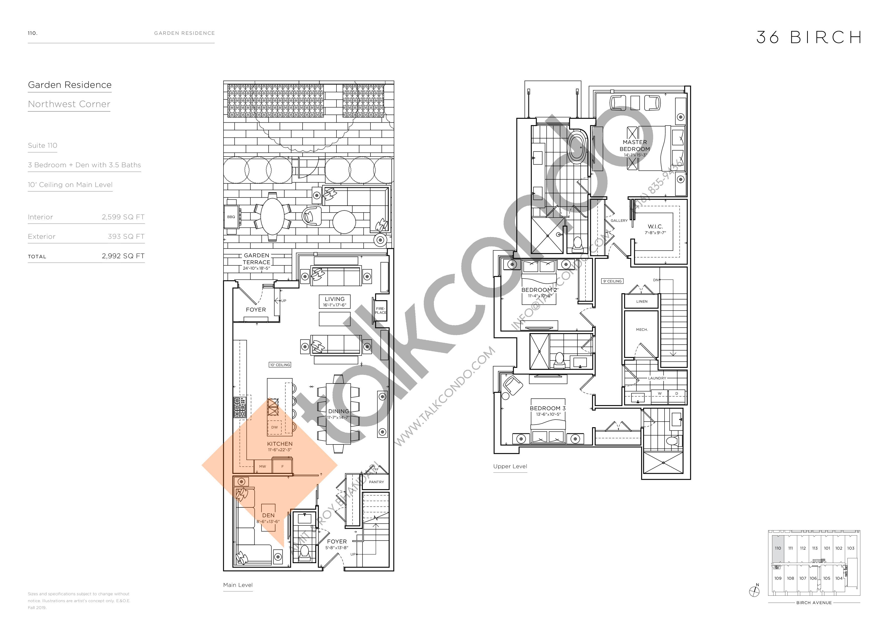 110 - Garden Residences Floor Plan at 36 Birch Avenue Condos - 2599 sq.ft