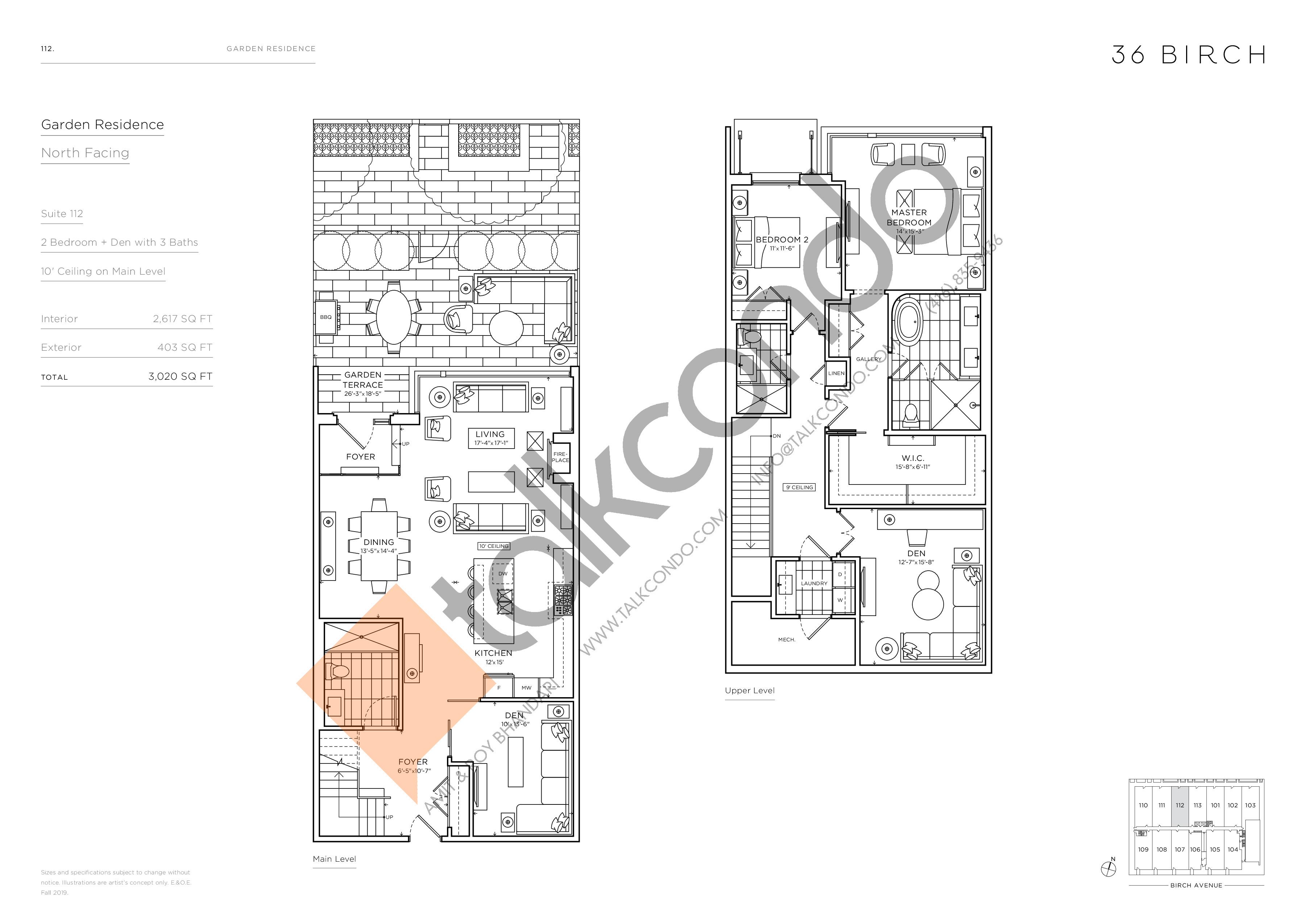 112 - Garden Residences Floor Plan at 36 Birch Avenue Condos - 2617 sq.ft