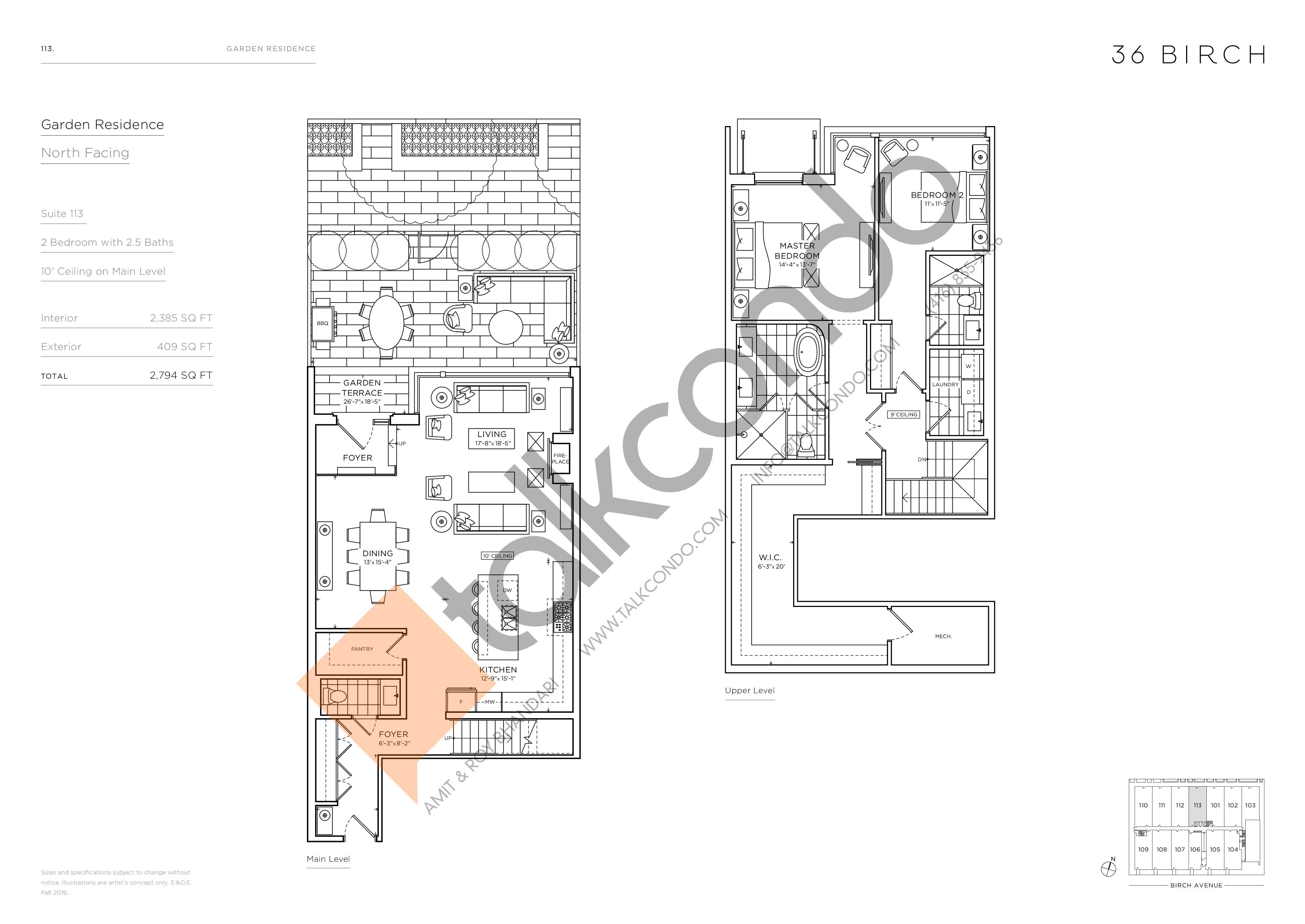 113 - Garden Residences Floor Plan at 36 Birch Avenue Condos - 2385 sq.ft