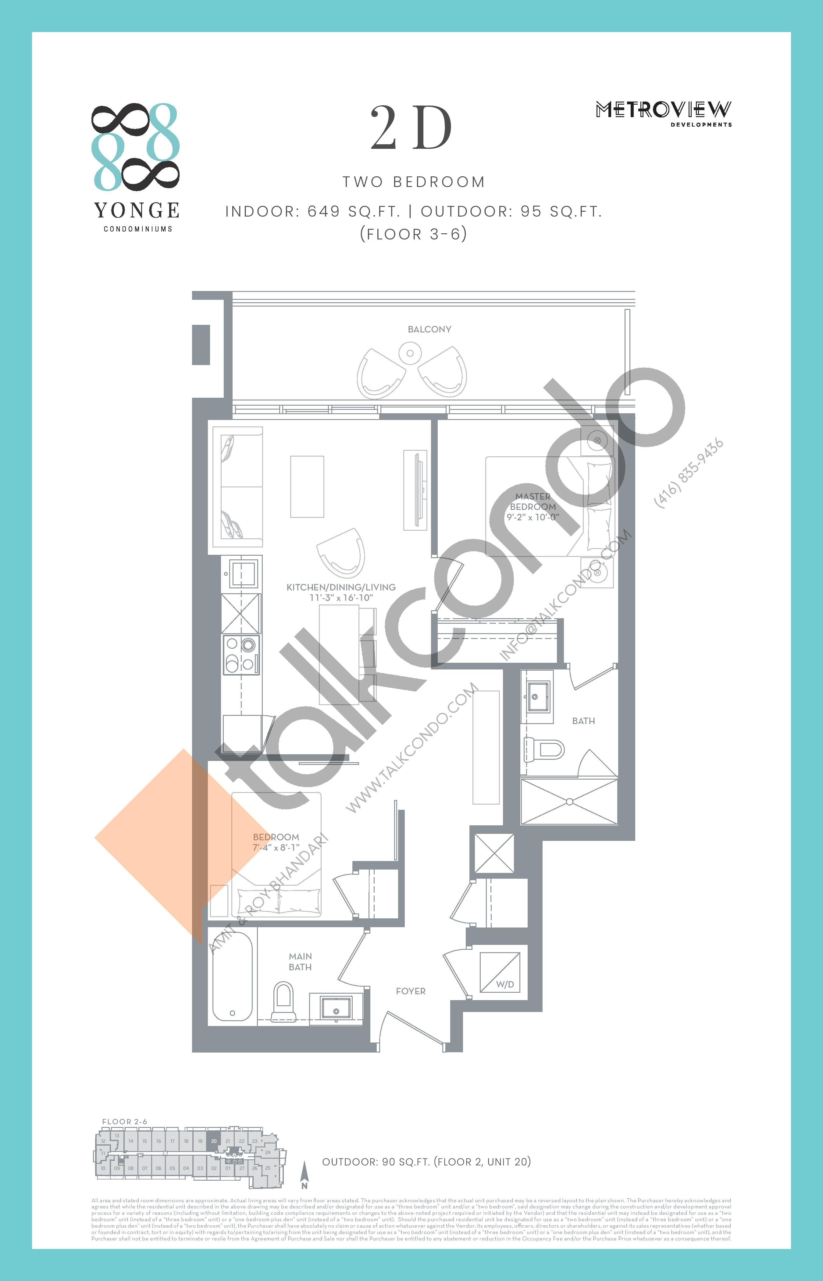 2D Floor Plan at 8888 Yonge Street Condos - 649 sq.ft