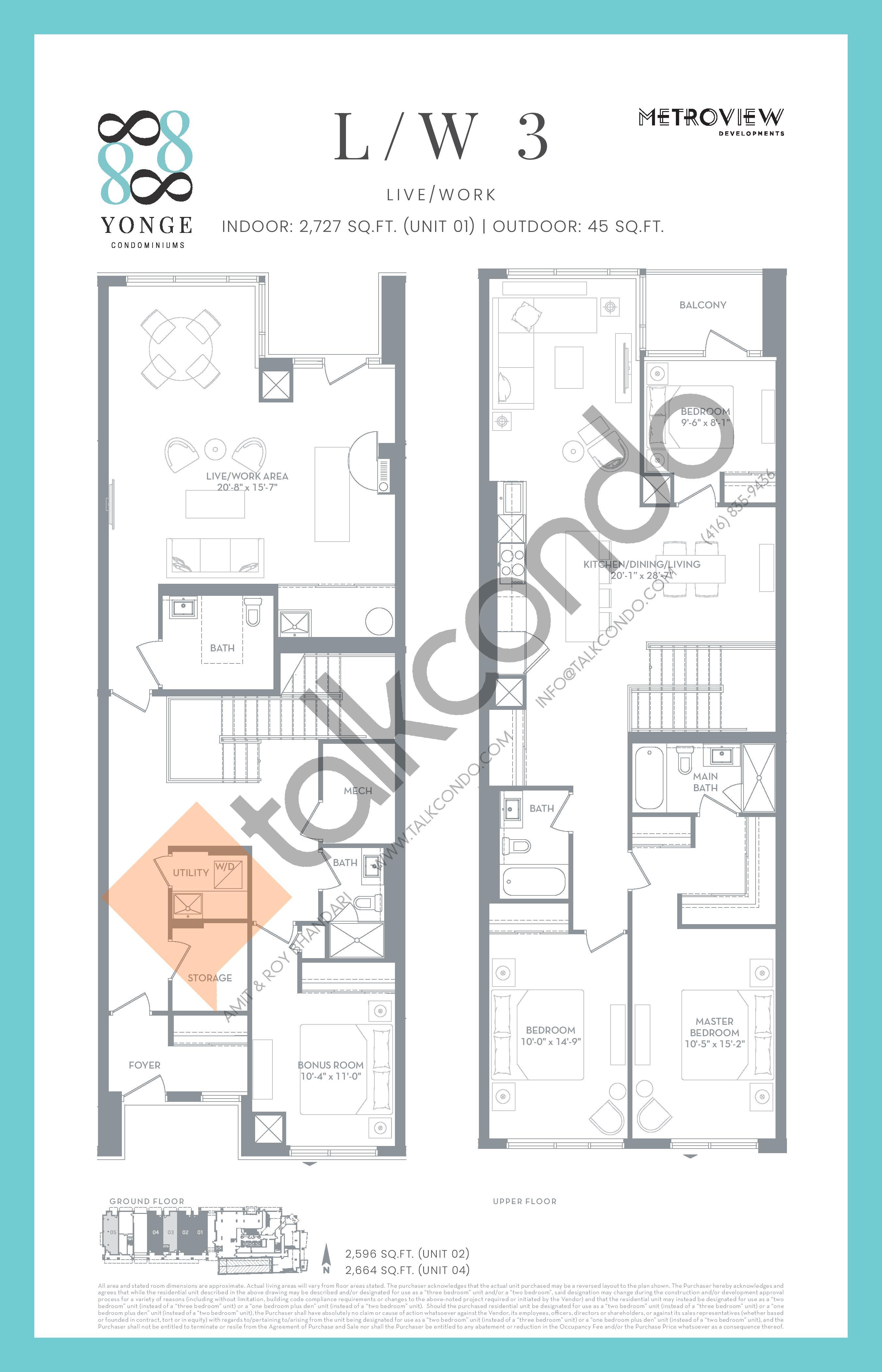 L/W 3 Floor Plan at 8888 Yonge Street Condos - 2727 sq.ft