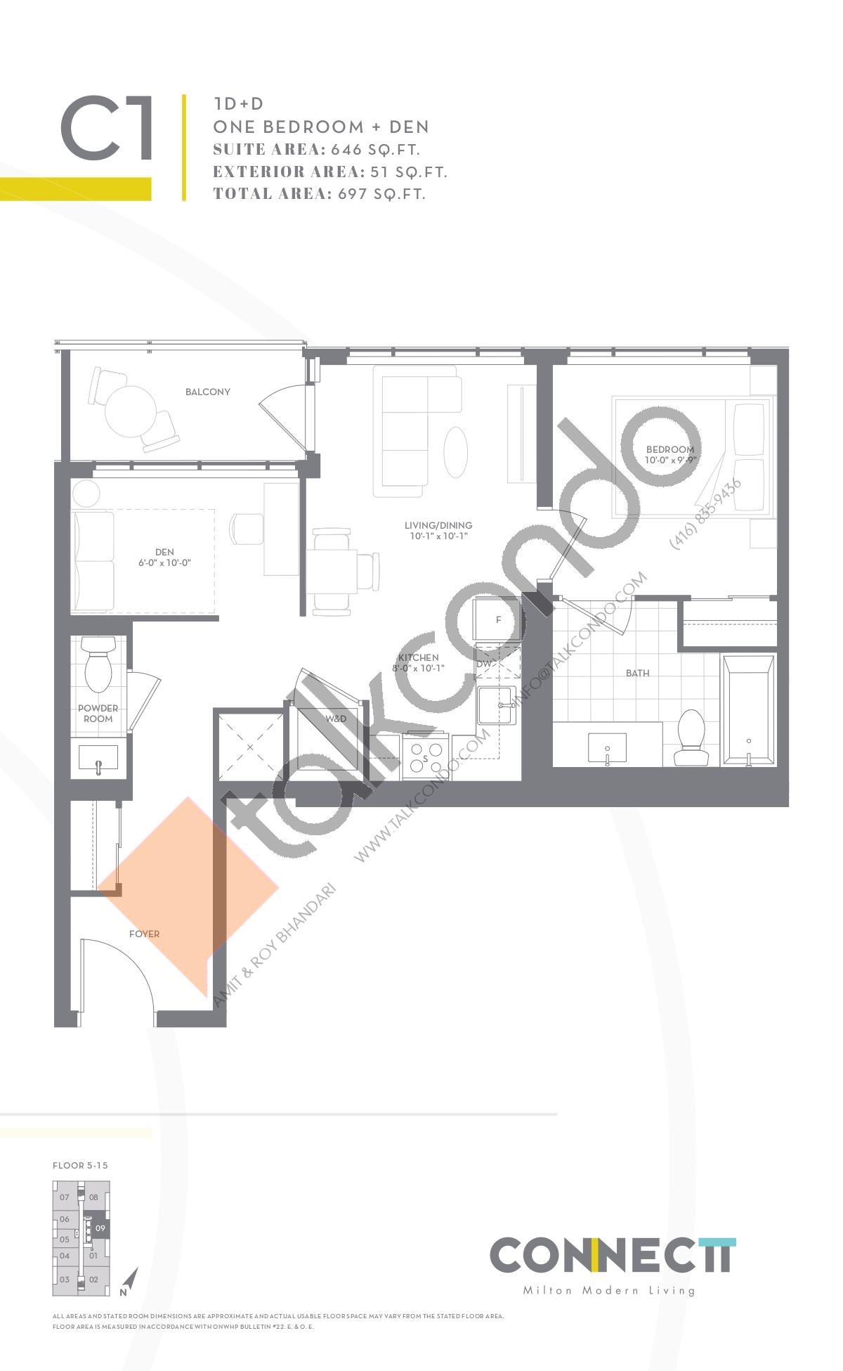 1D+D Floor Plan at Connectt Urban Community Condos - 646 sq.ft