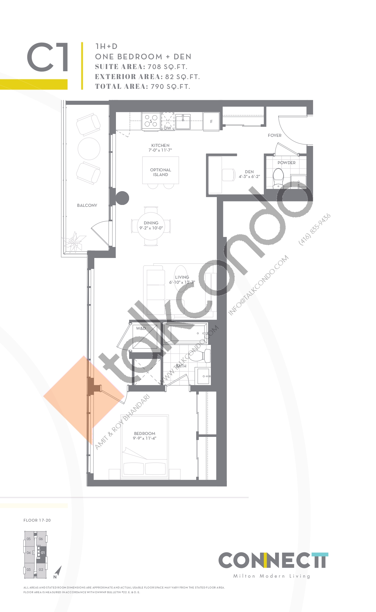 1H+D Floor Plan at Connectt Urban Community Condos - 708 sq.ft