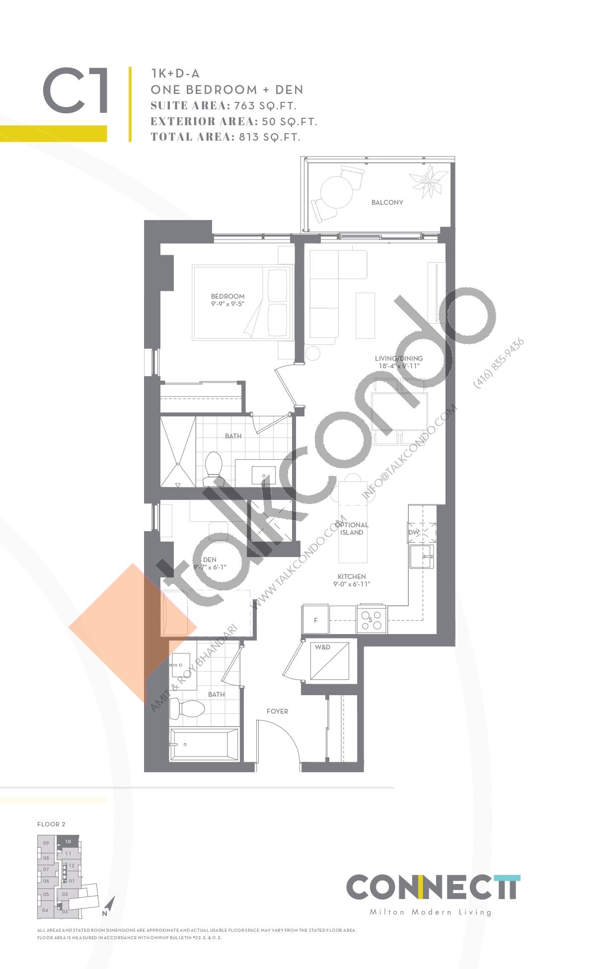 1K+D-A Floor Plan at Connectt Urban Community Condos - 763 sq.ft