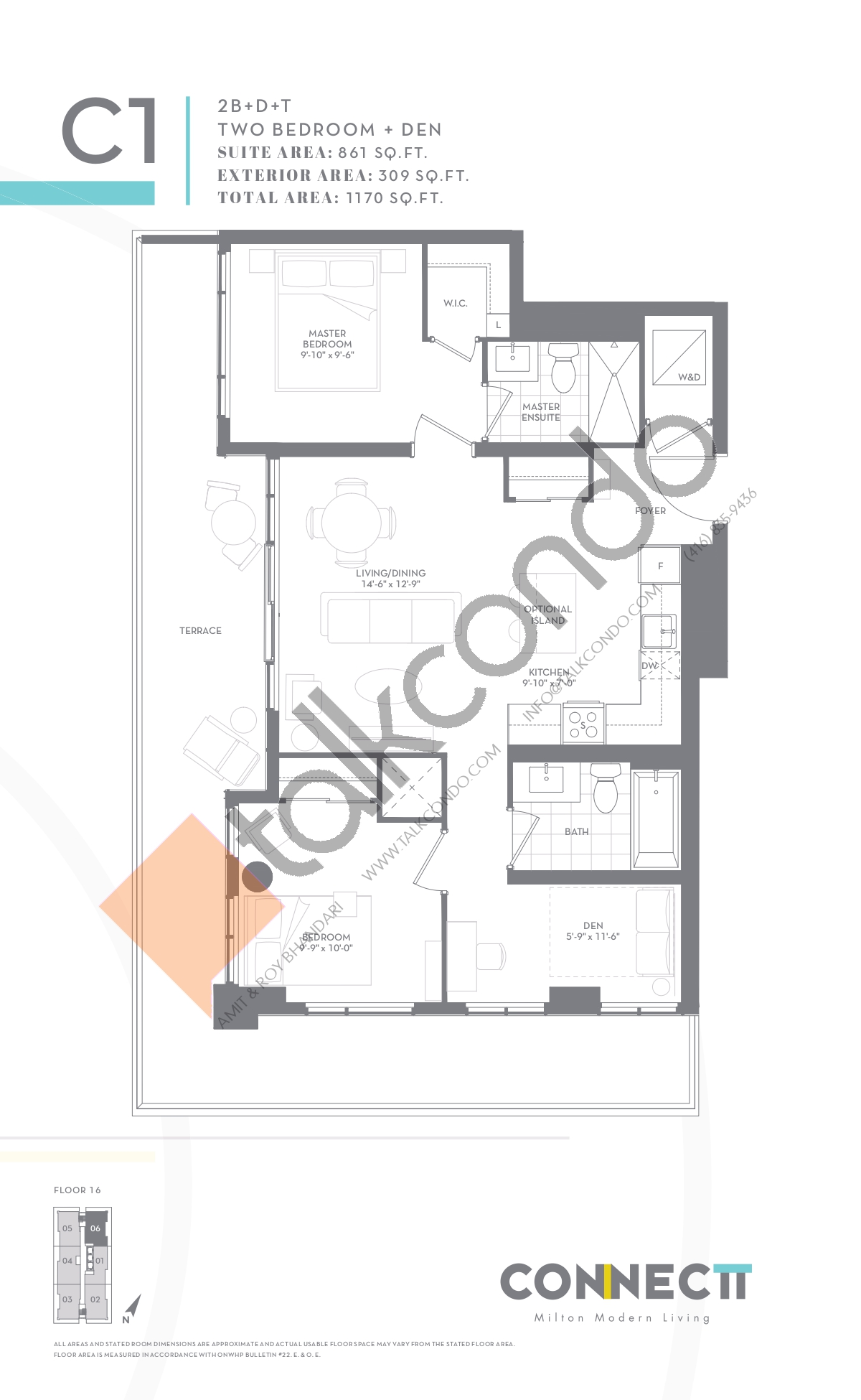 2B+D+T Floor Plan at Connectt Urban Community Condos - 861 sq.ft