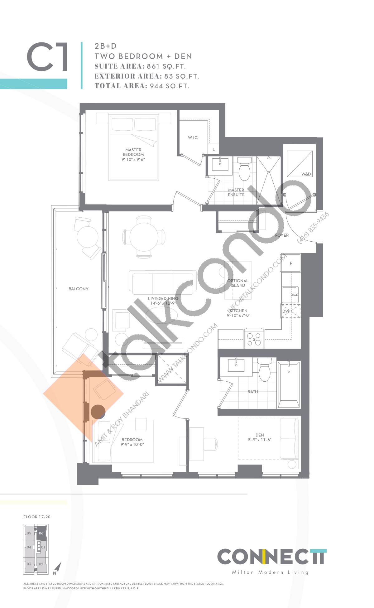 2B+D Floor Plan at Connectt Urban Community Condos - 861 sq.ft