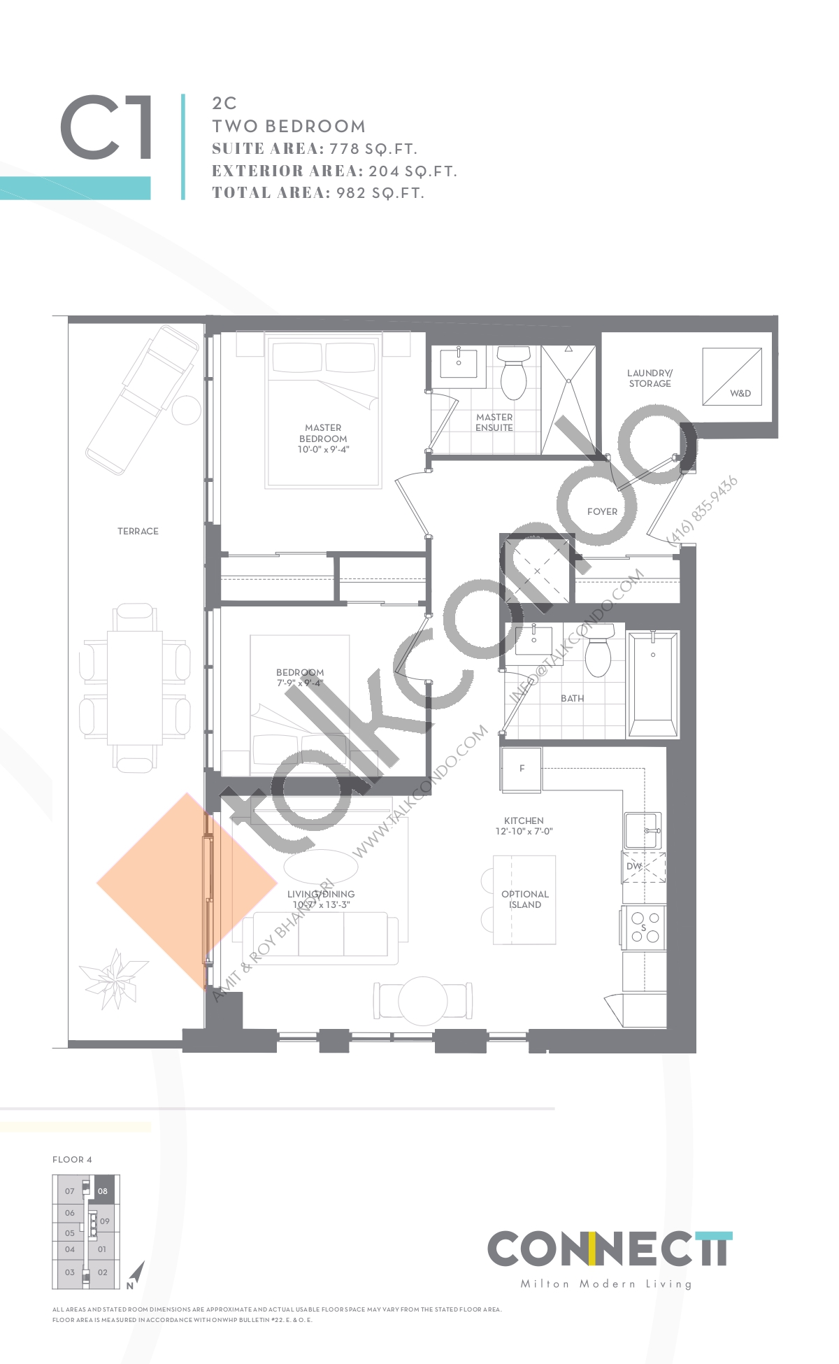 2C Floor Plan at Connectt Urban Community Condos - 778 sq.ft
