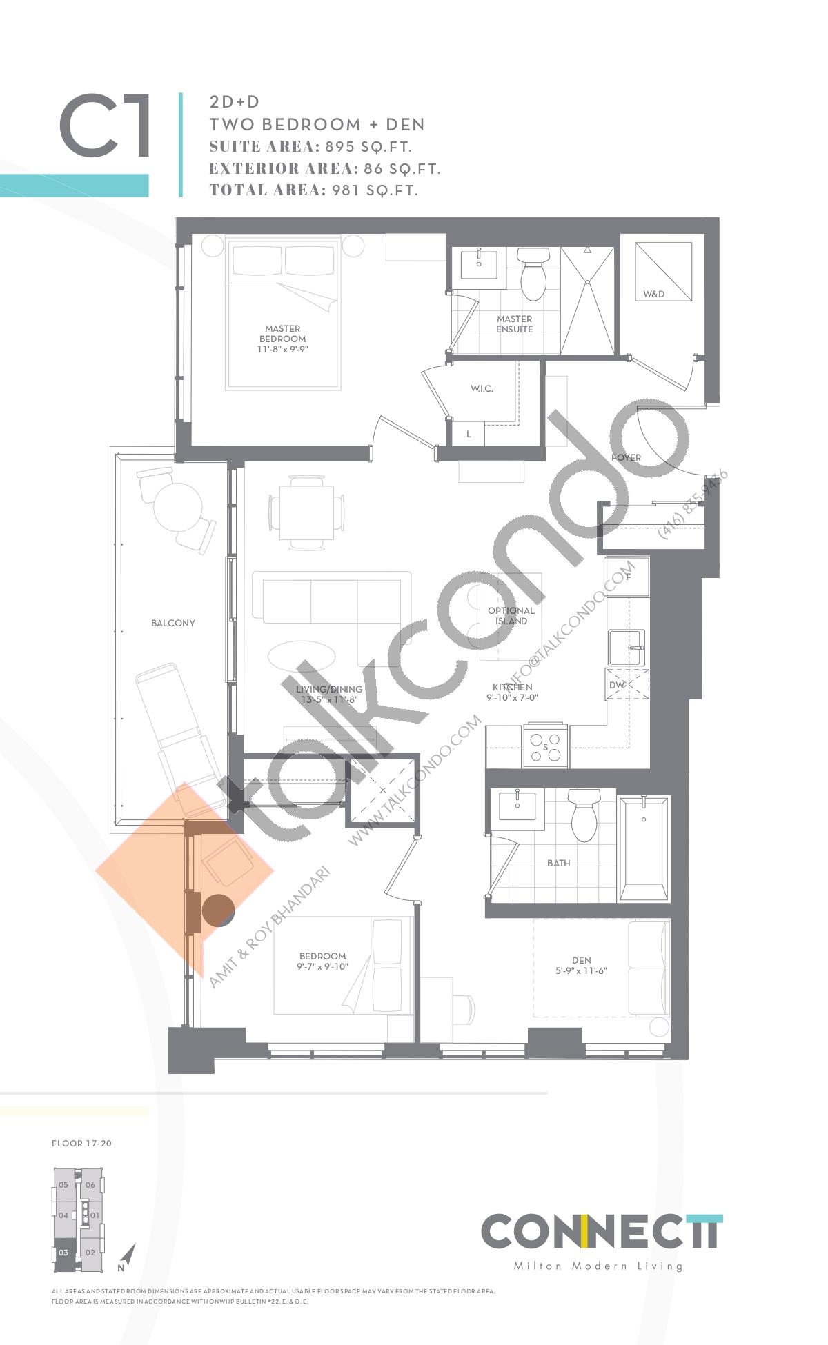 2D+D Floor Plan at Connectt Urban Community Condos - 895 sq.ft