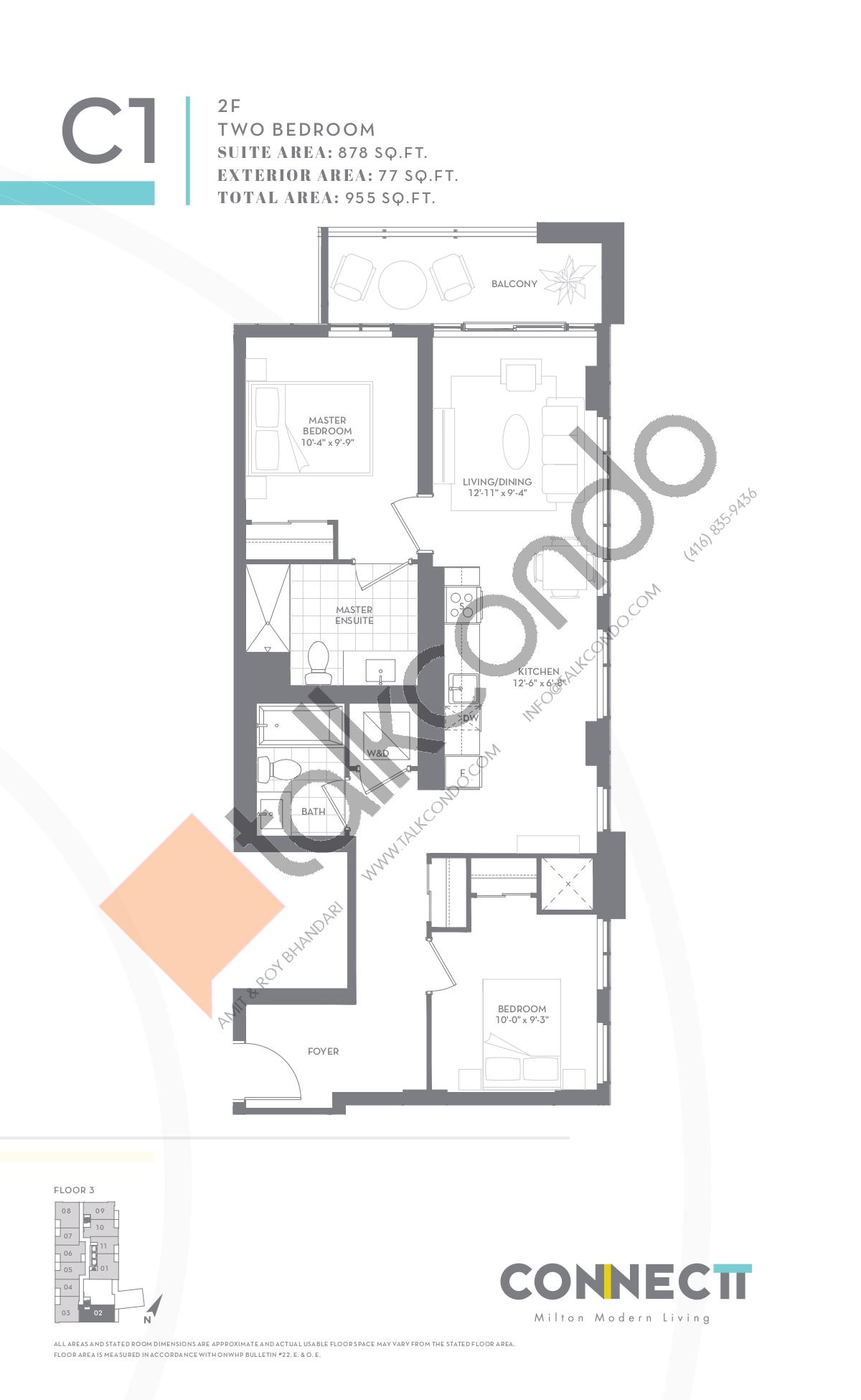 2F Floor Plan at Connectt Urban Community Condos - 878 sq.ft