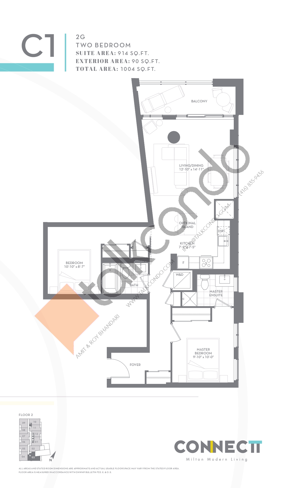 2G Floor Plan at Connectt Urban Community Condos - 914 sq.ft