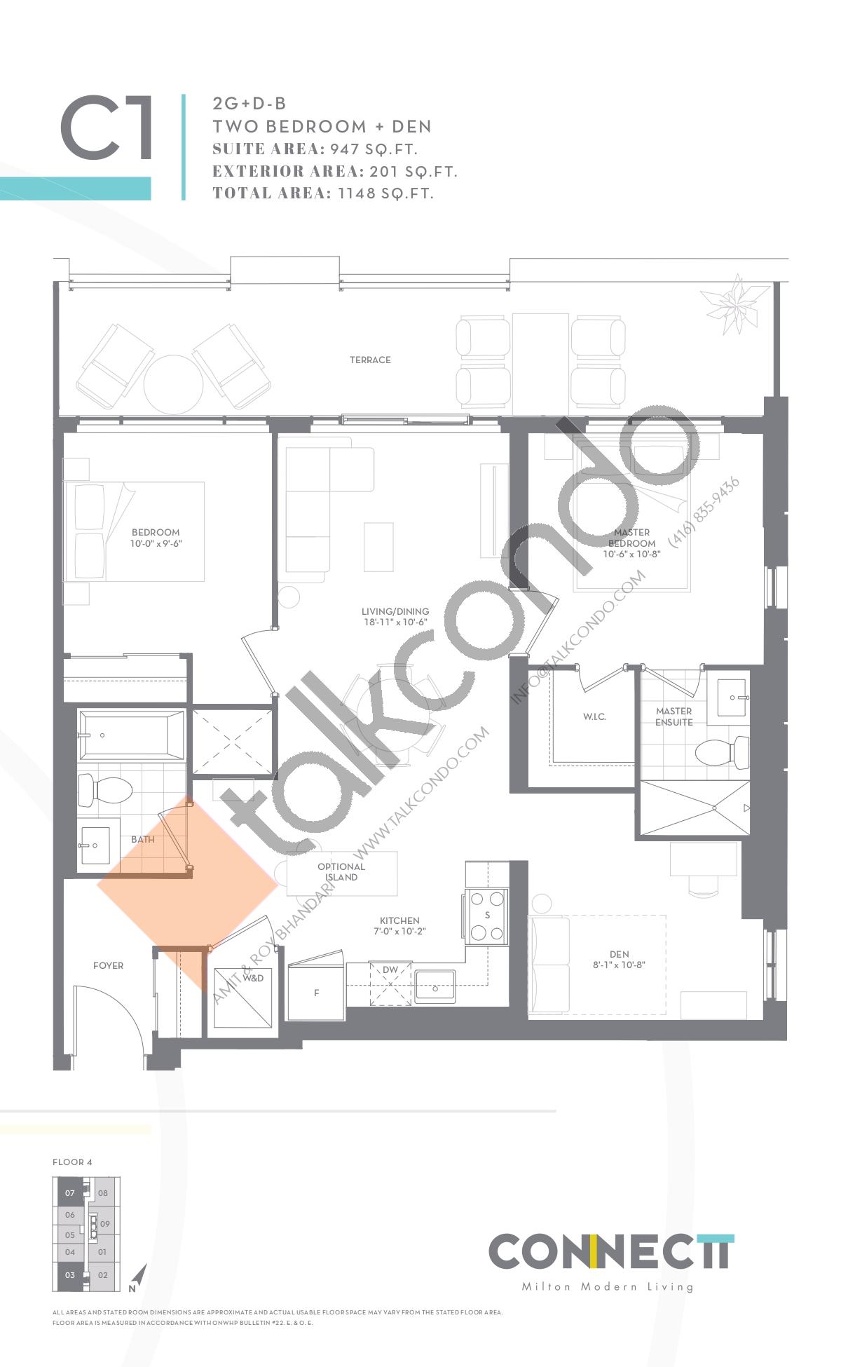 2G+D-B Floor Plan at Connectt Urban Community Condos - 947 sq.ft