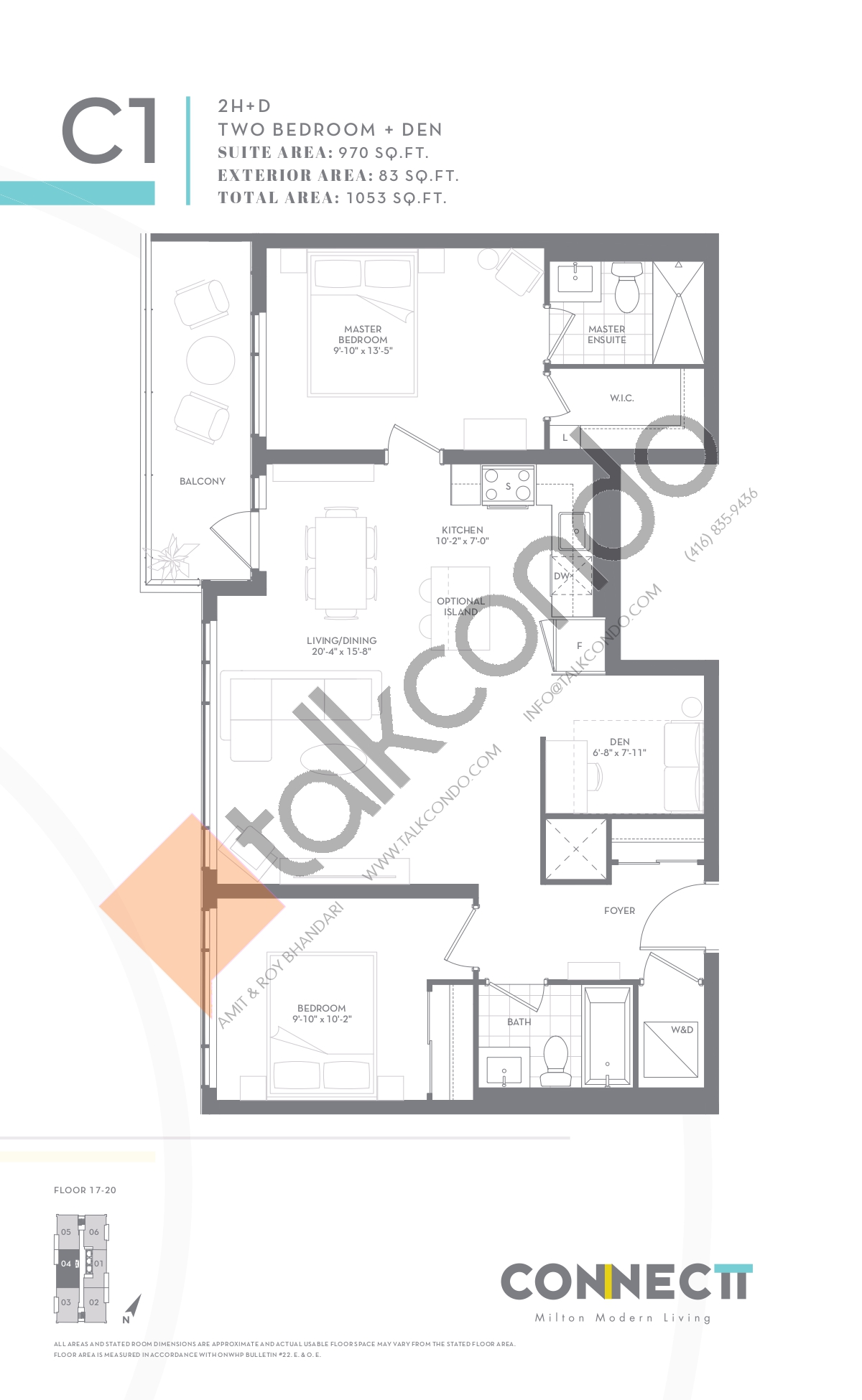 2H+D Floor Plan at Connectt Urban Community Condos - 970 sq.ft